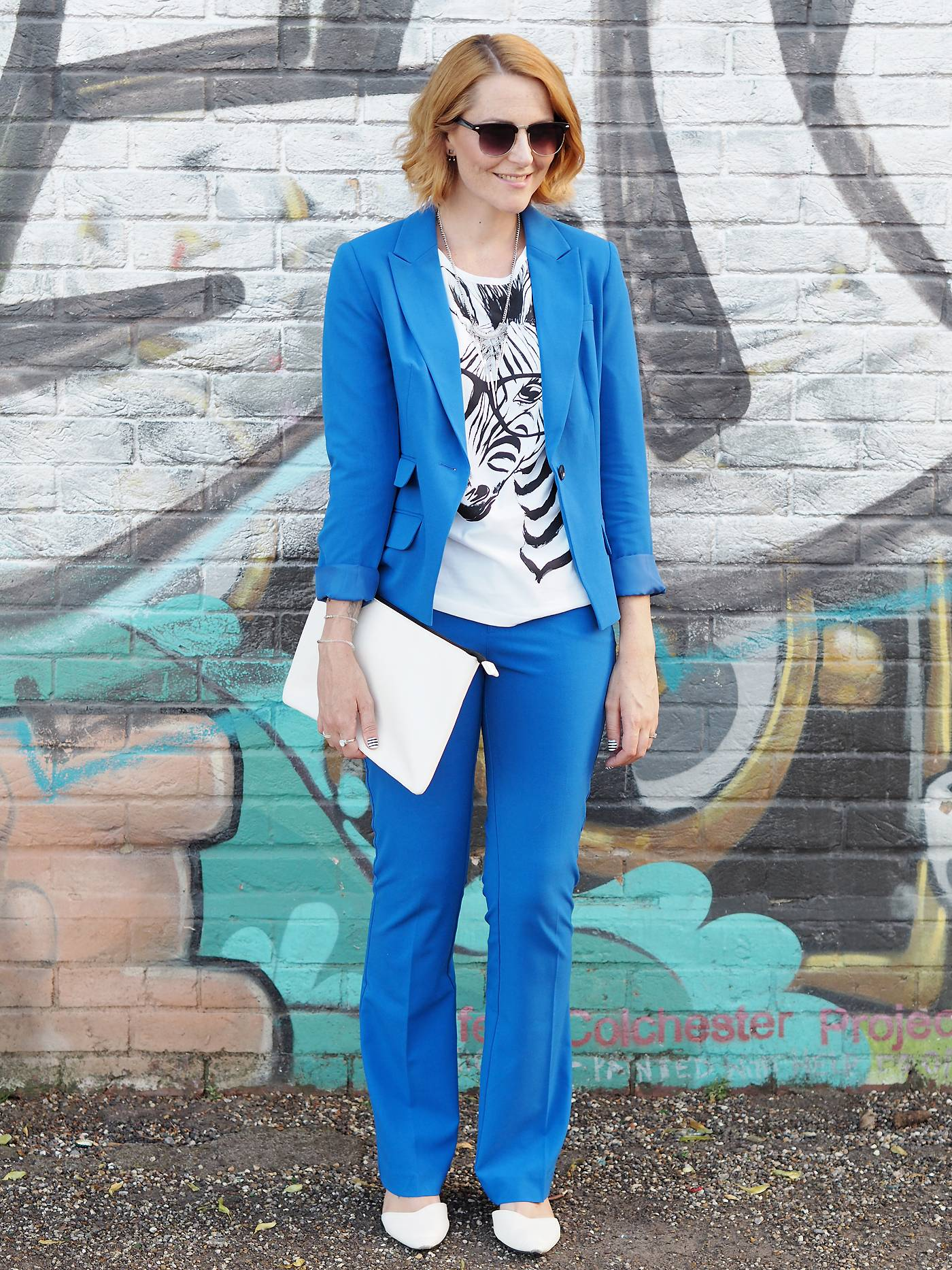 blue trouser suit from look again