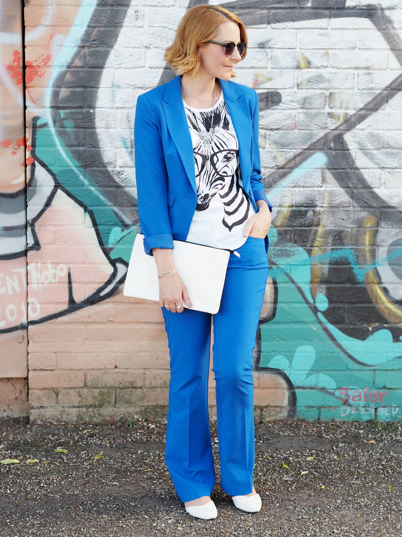 ladies trouser suit blue