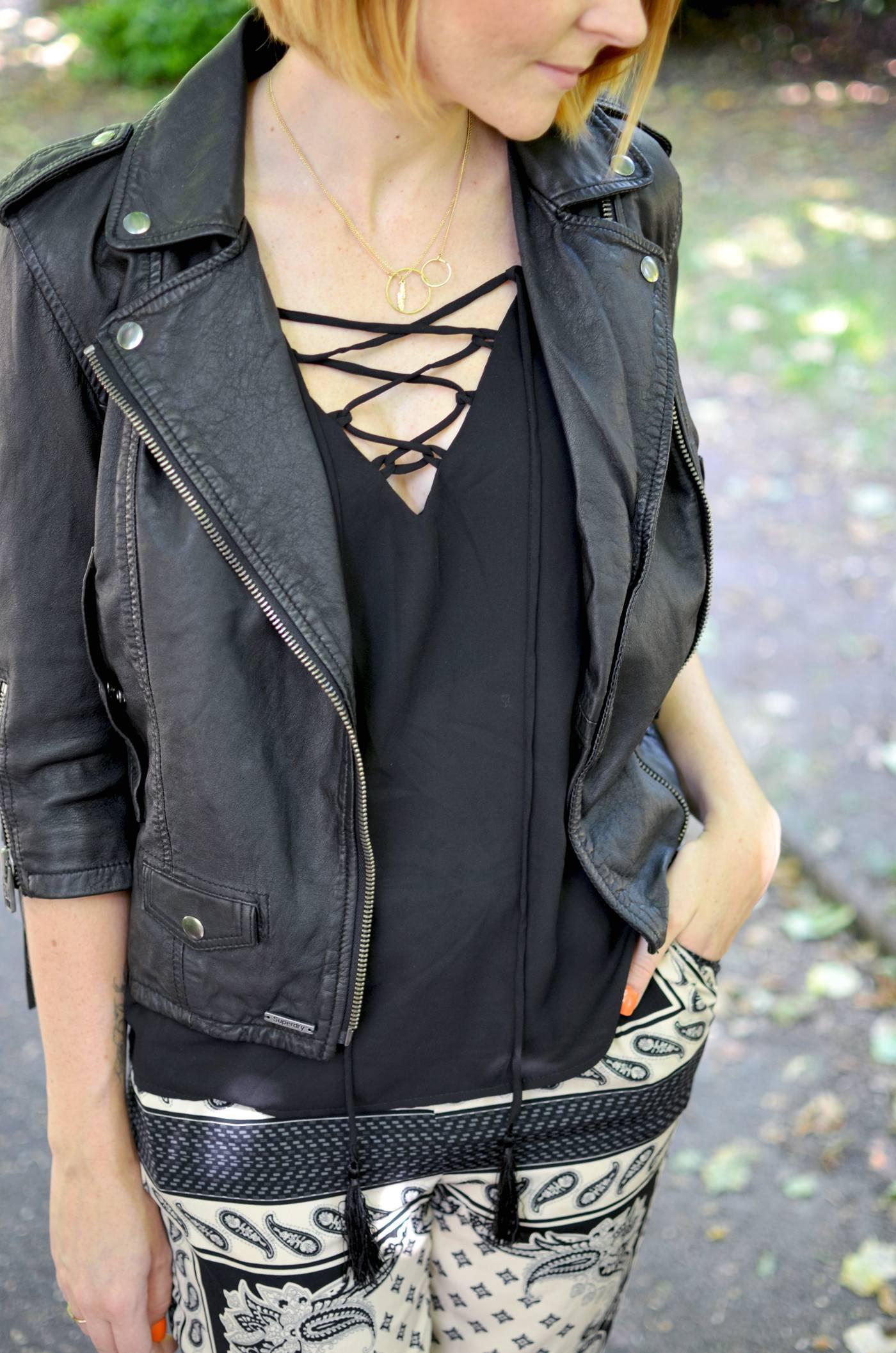 missguided black lace up vest