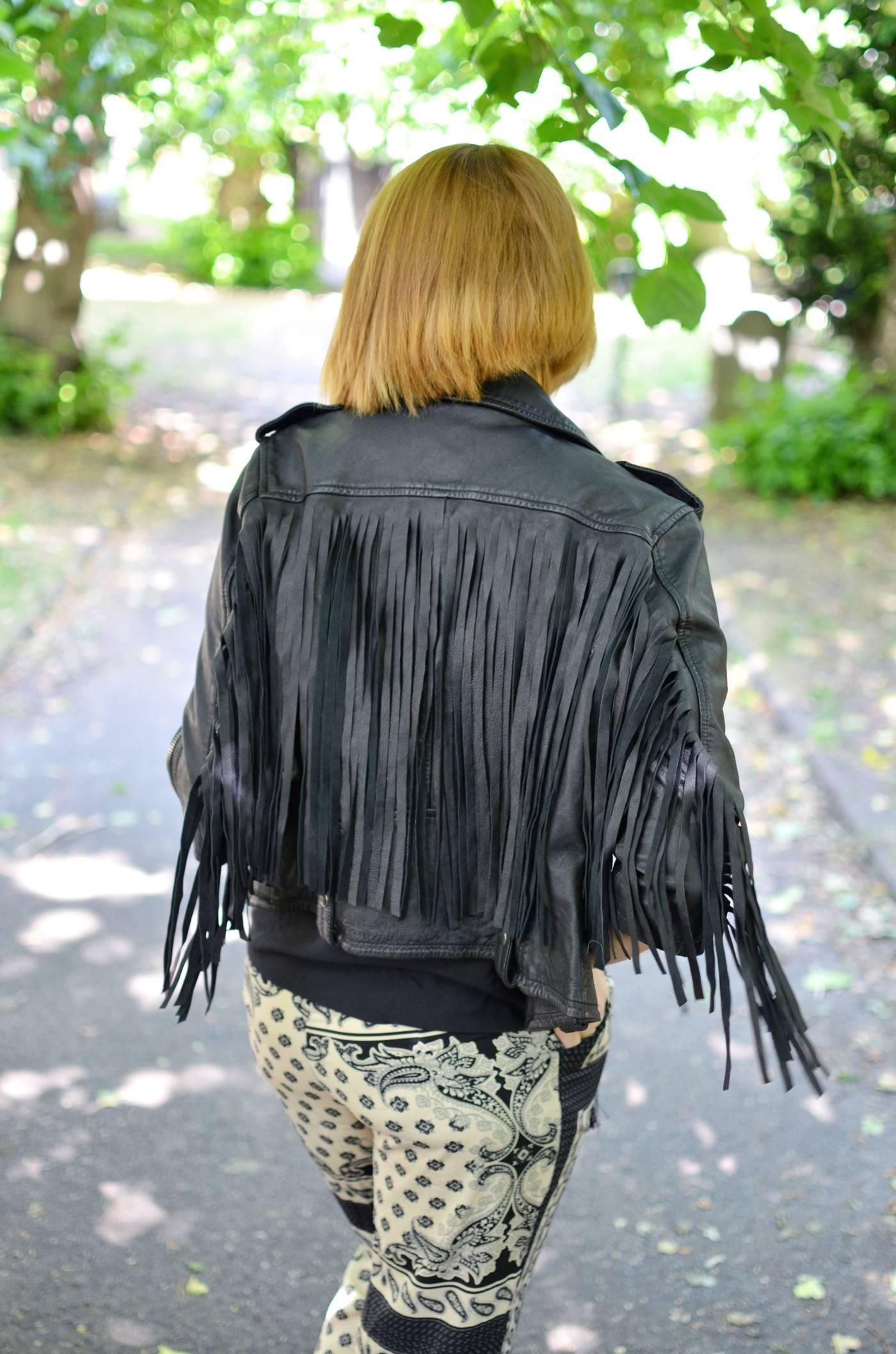 Leather Fringe biker Jacket