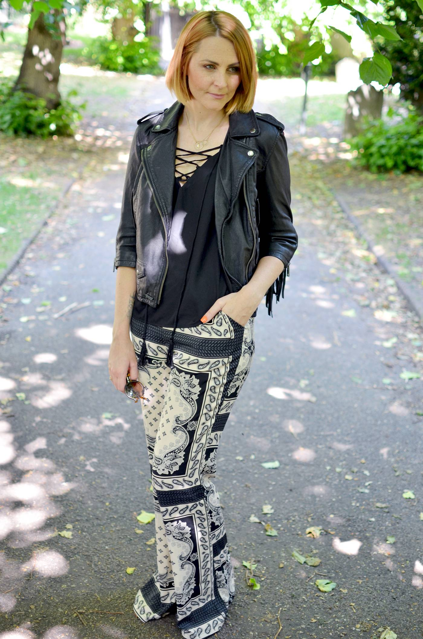 Leather Fringe Jacket and missguided trousers