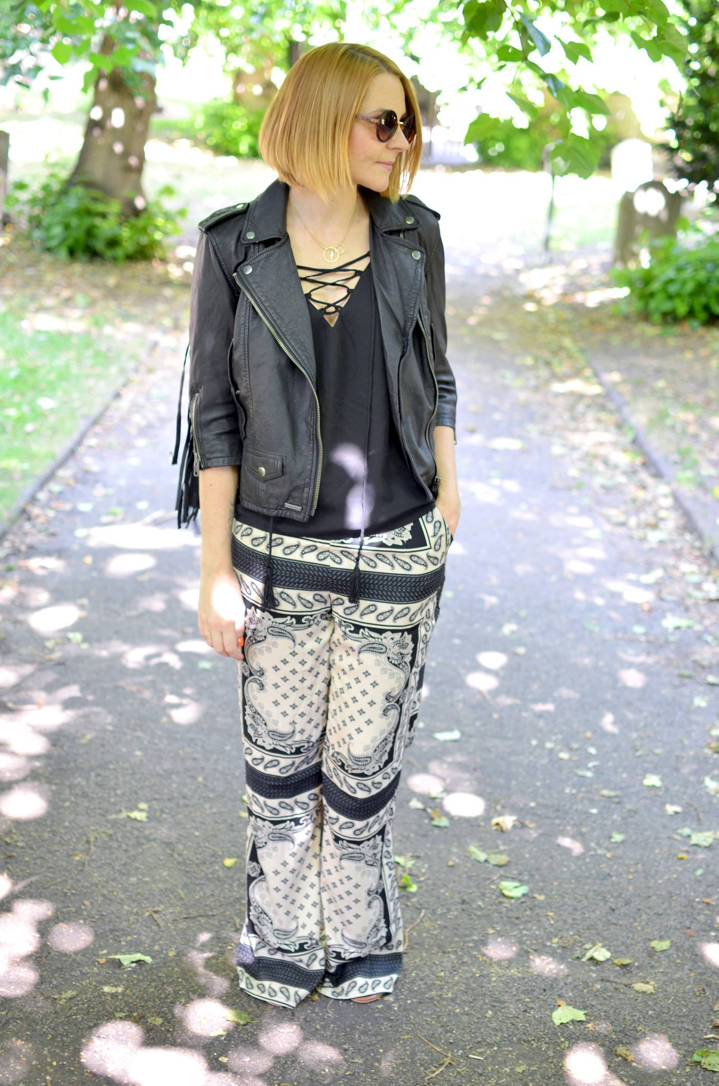 Leather Fringe biker Jacket and missguided trousers