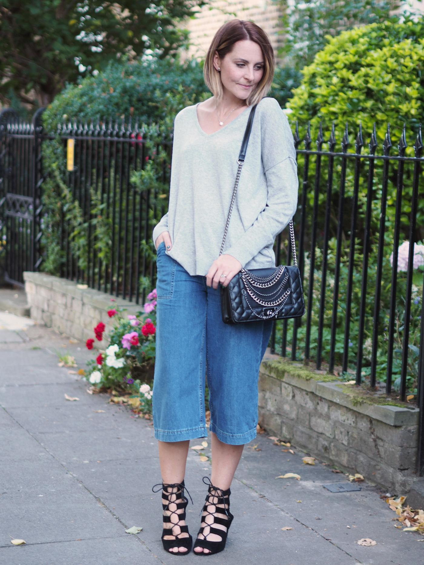 Grey u0026 Denim Culottes Outfit Post - Bang on Style
