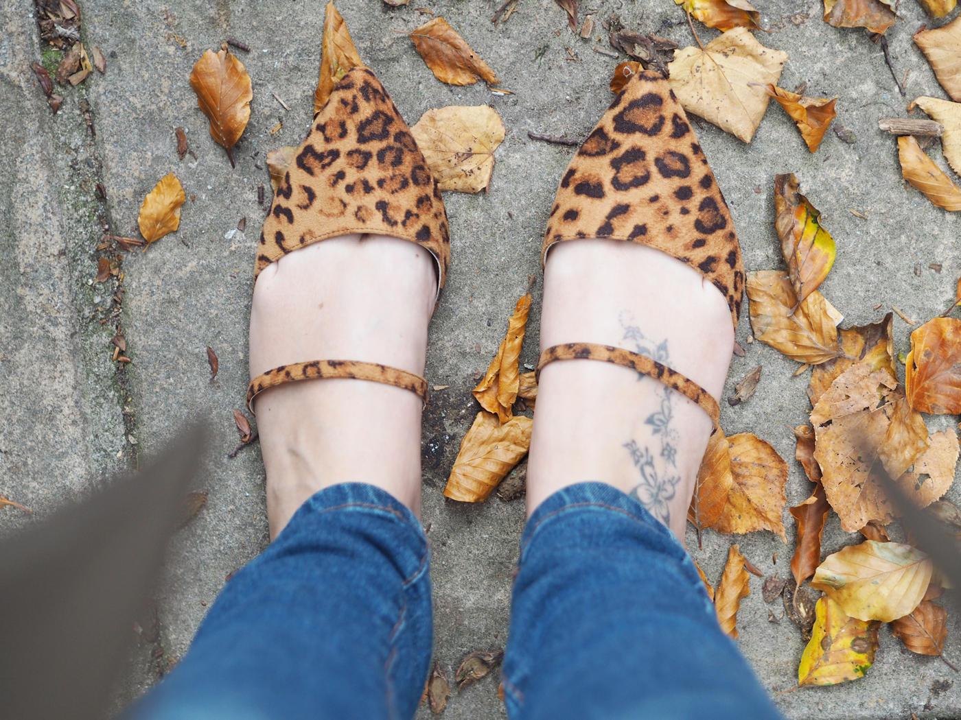 asos leopard flats