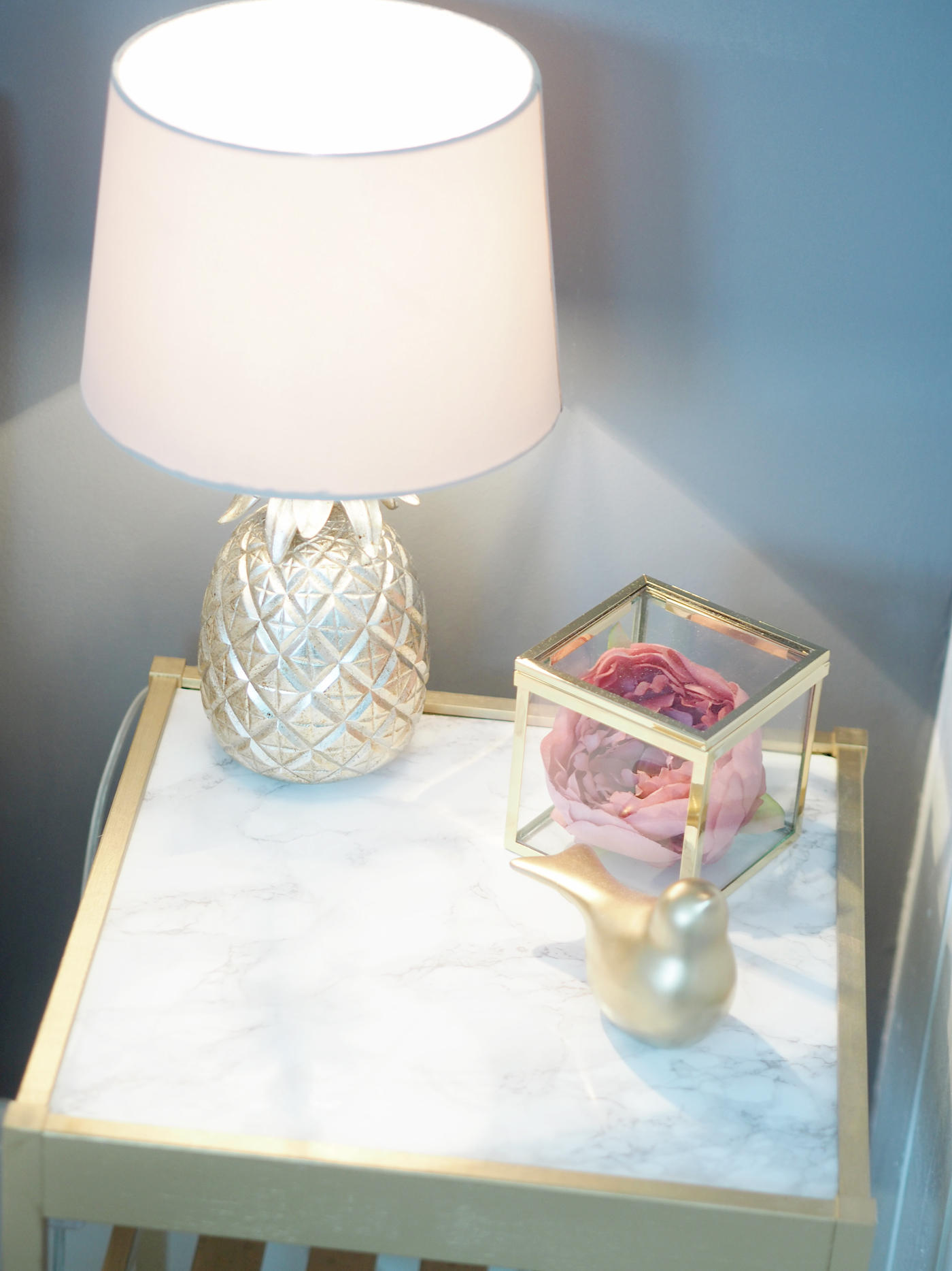 GOLD MARBLE BEDSIDE TABLE