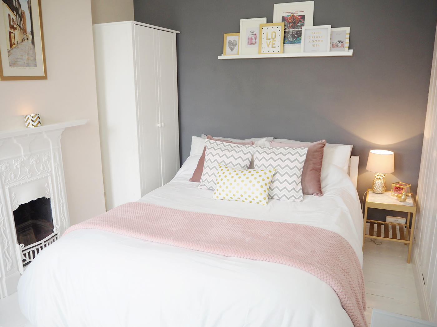 Pink grey bedroom makeover bang on style for Room makeover