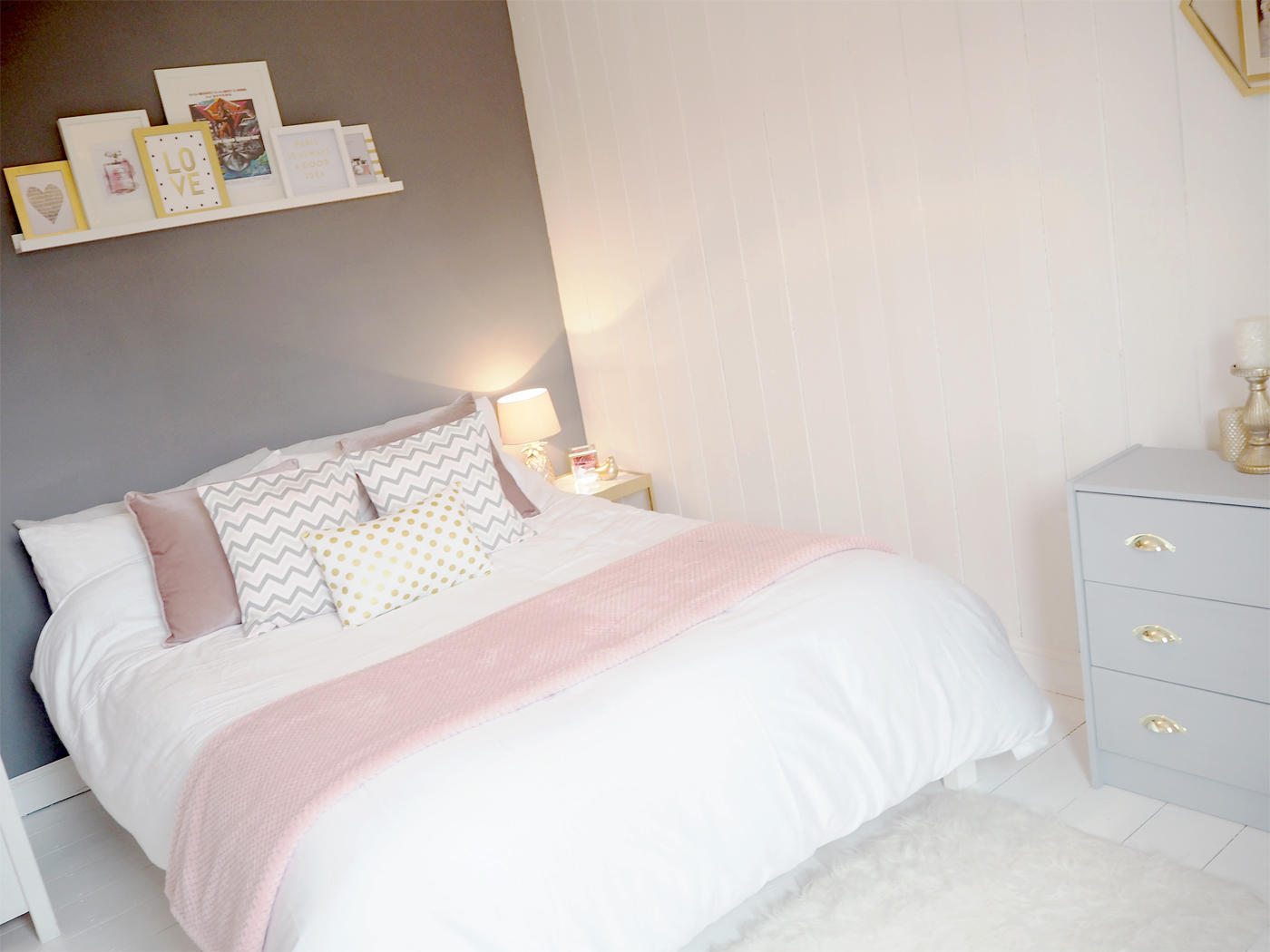 Pink grey bedroom makeover bang on style Pink room with white furniture