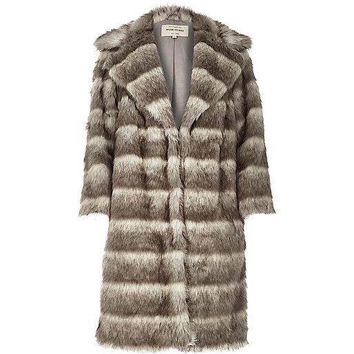 river island grey fur coat