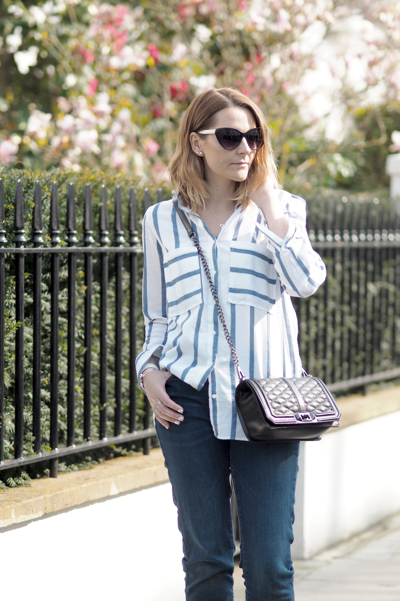 blue striped shirt outfit