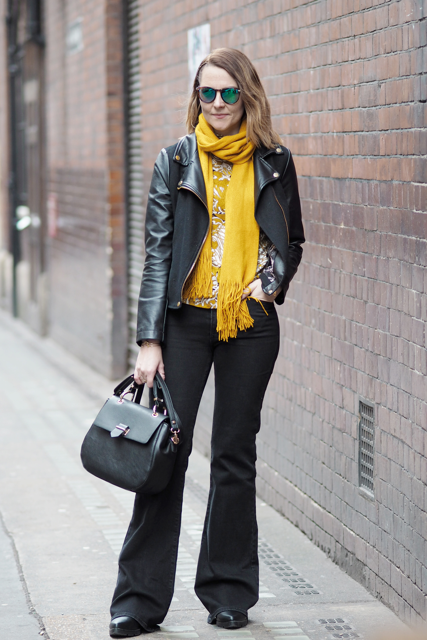 black biker and flares outfit