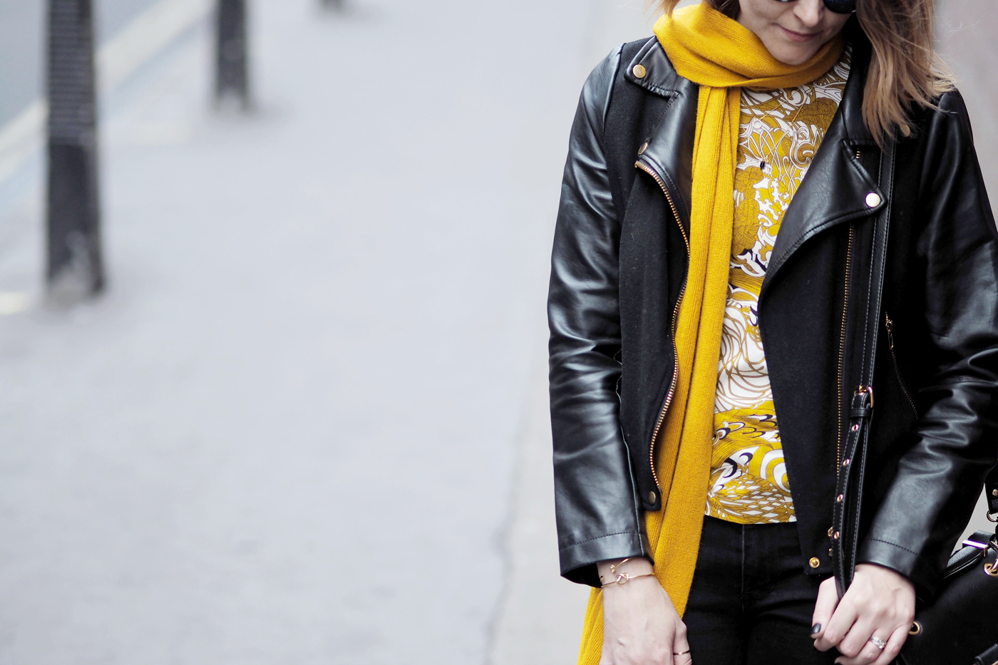 black biker and mustard outfit