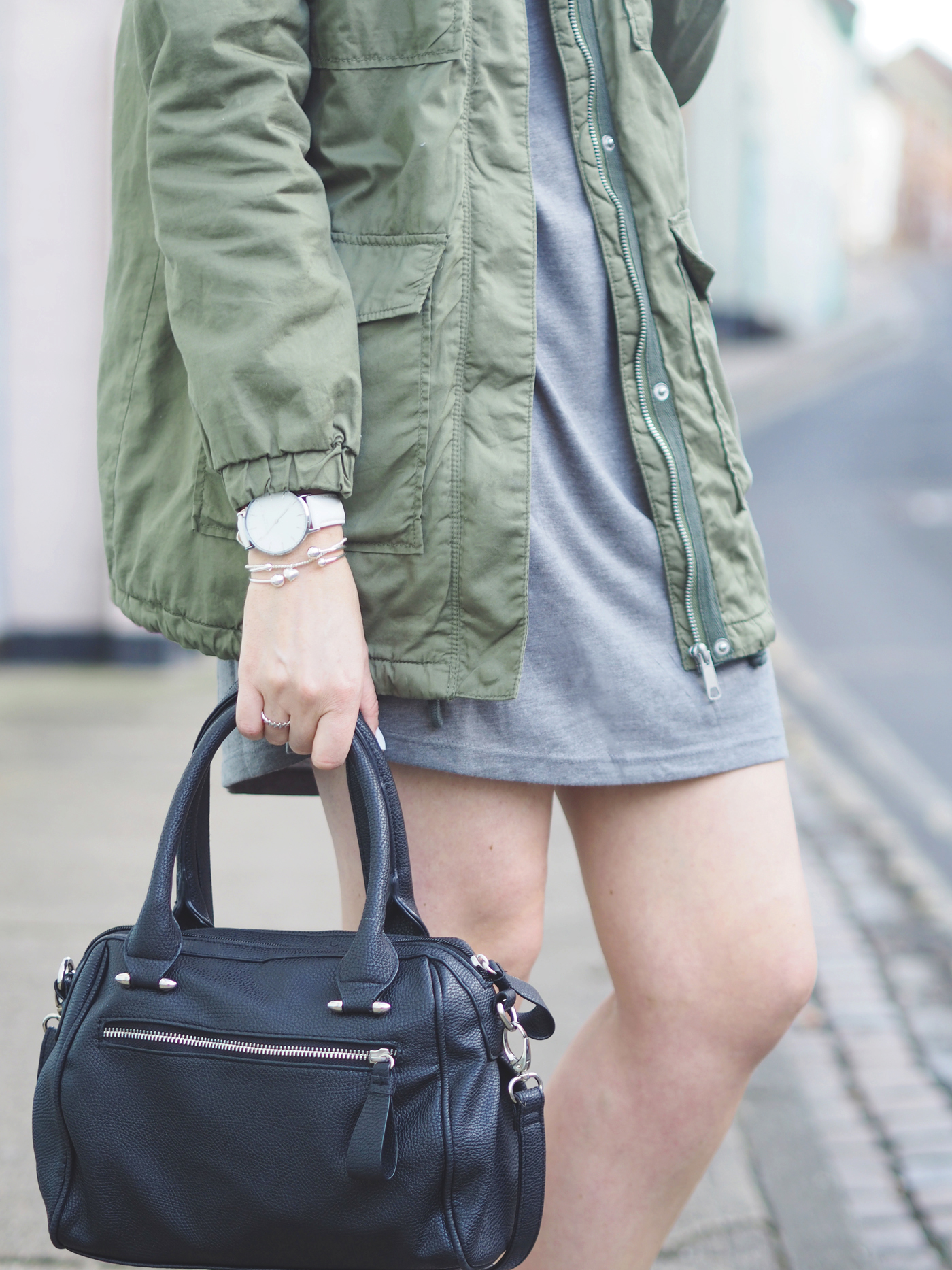 grey and khaki bomber