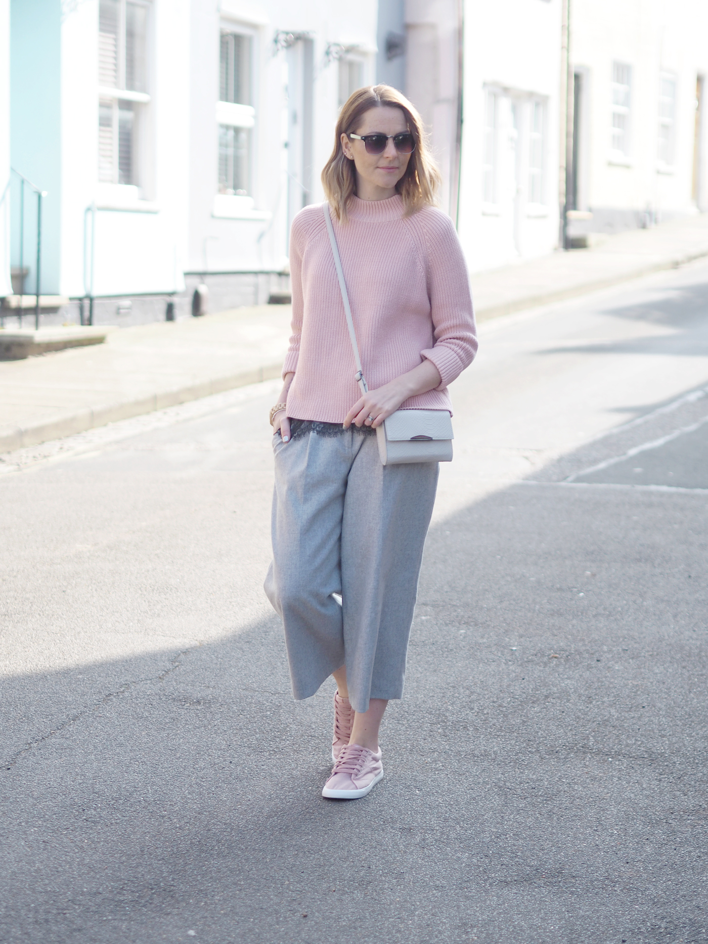 pink and grey outfit