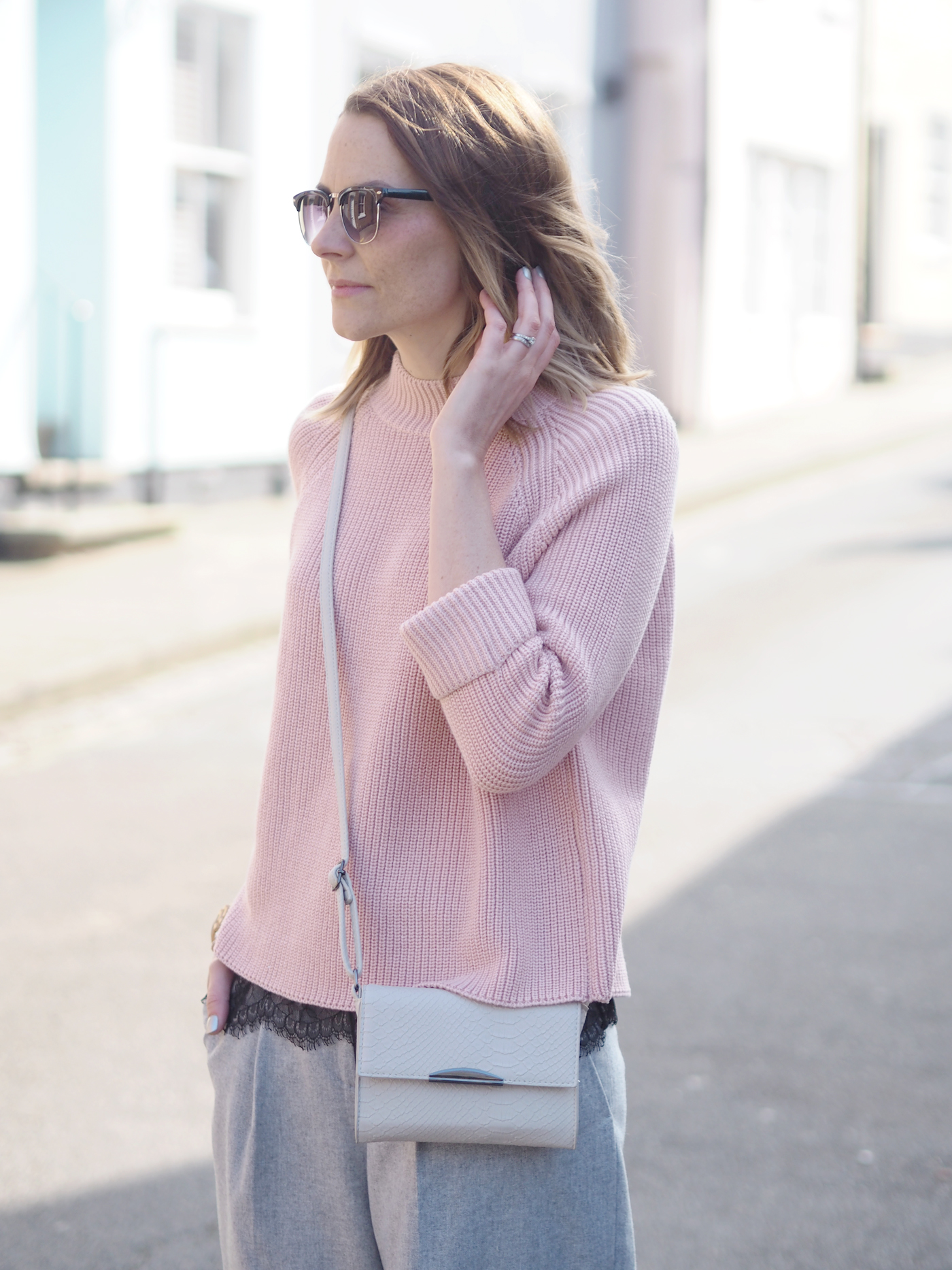 Pink Grey casual outfit