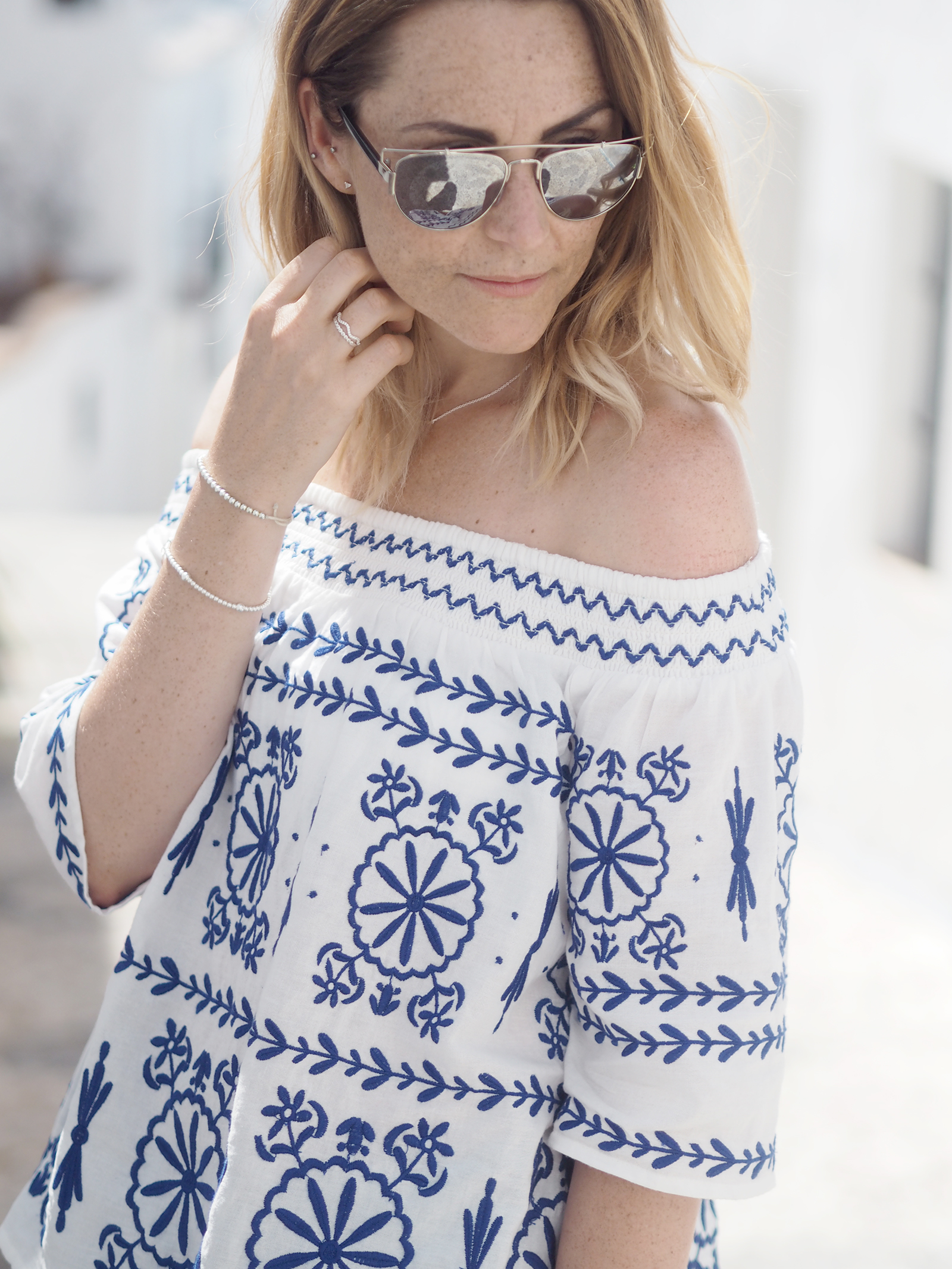 bardot embroidered top