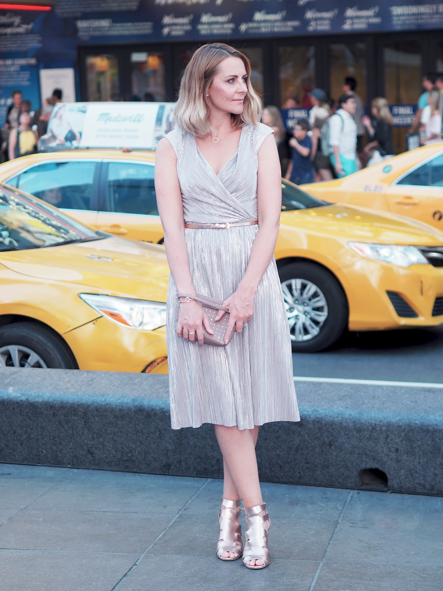 silver pleated dress