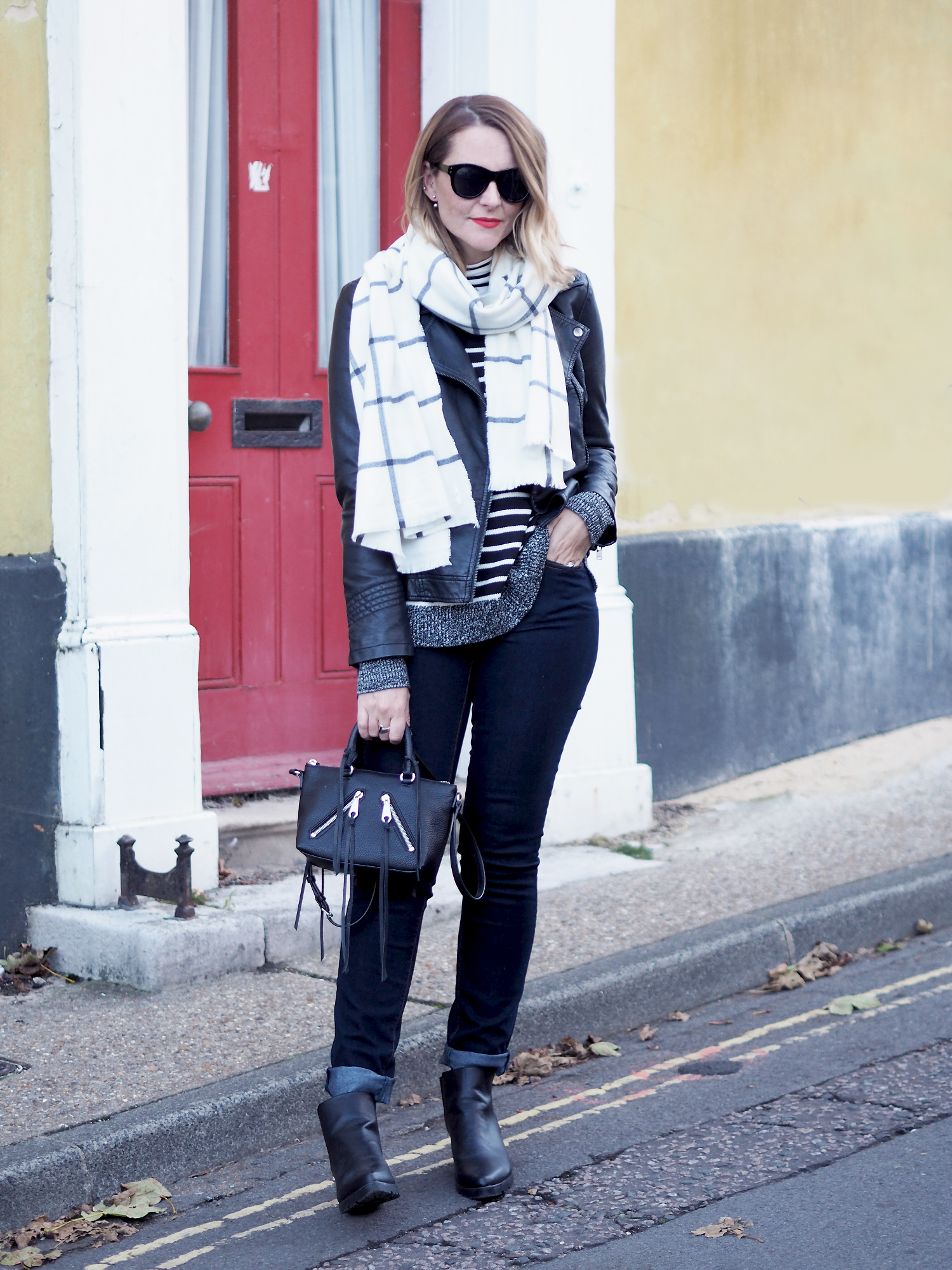 autumn outfit striped GAP jumper and checked scarf