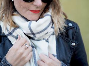 chunky check scarf and biker jacket