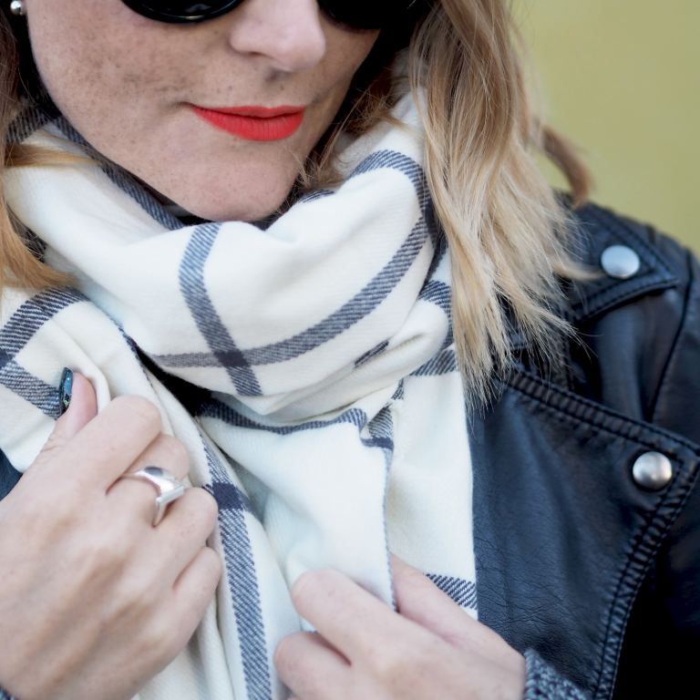 chunky check scarf and biker jacket