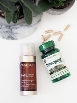 pycnogenol supplements and clarins double serum