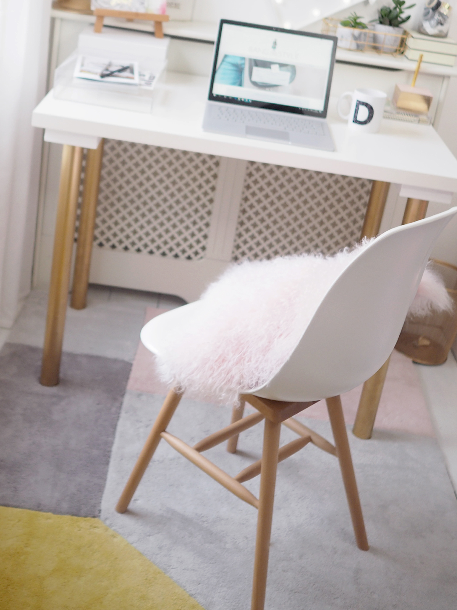 home office pink and gold