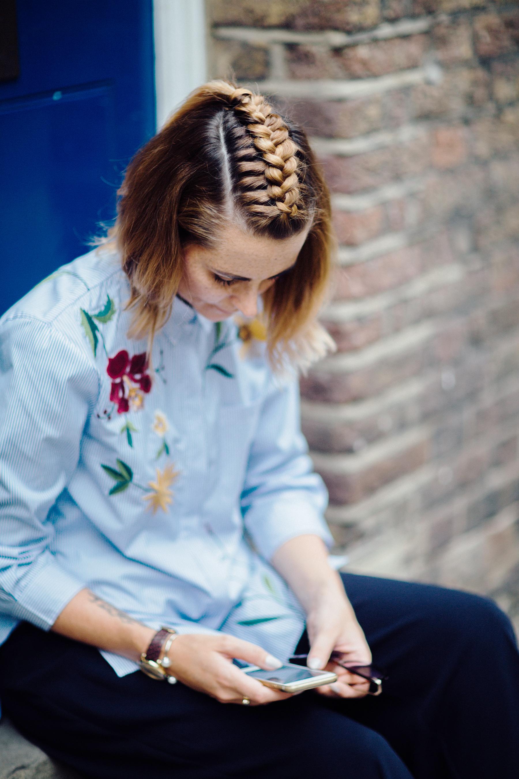 centre plait braided hair