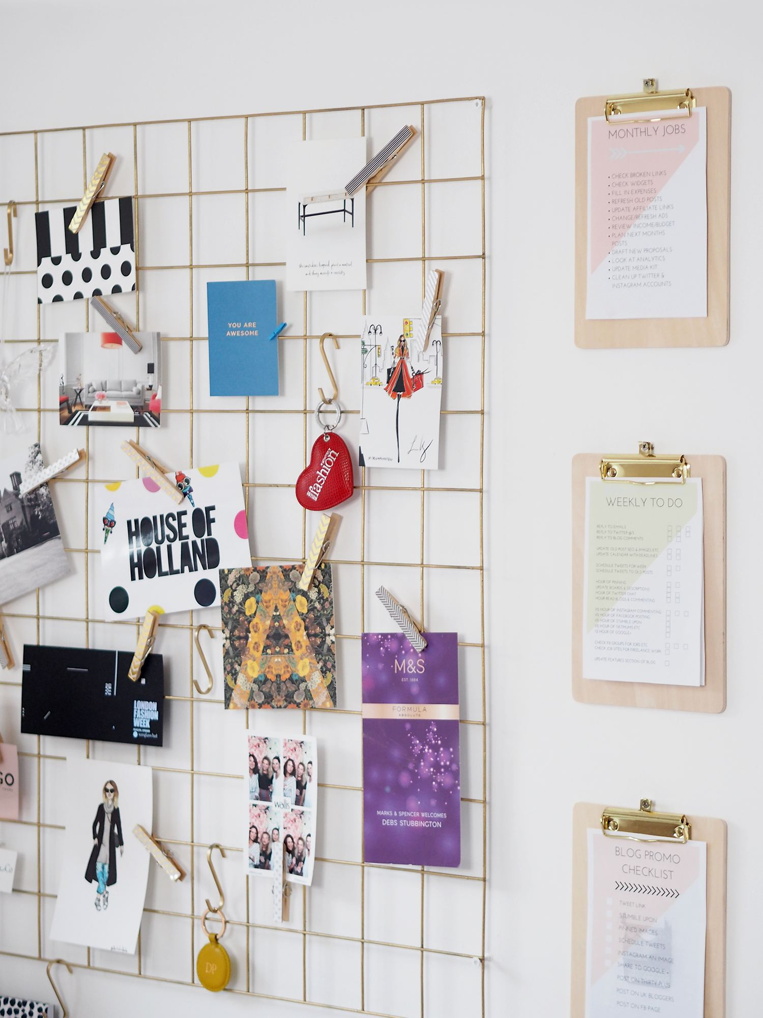 home office mesh noticeboard and clipboards
