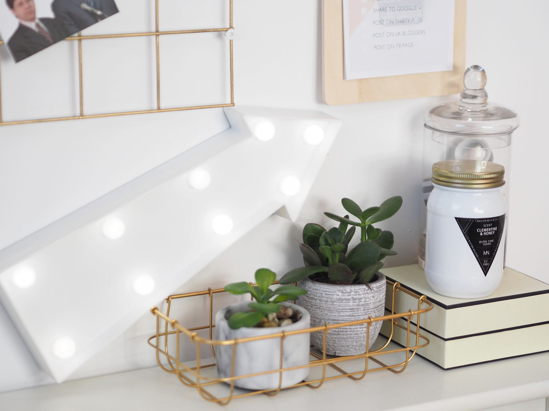 home office desk light and succulents