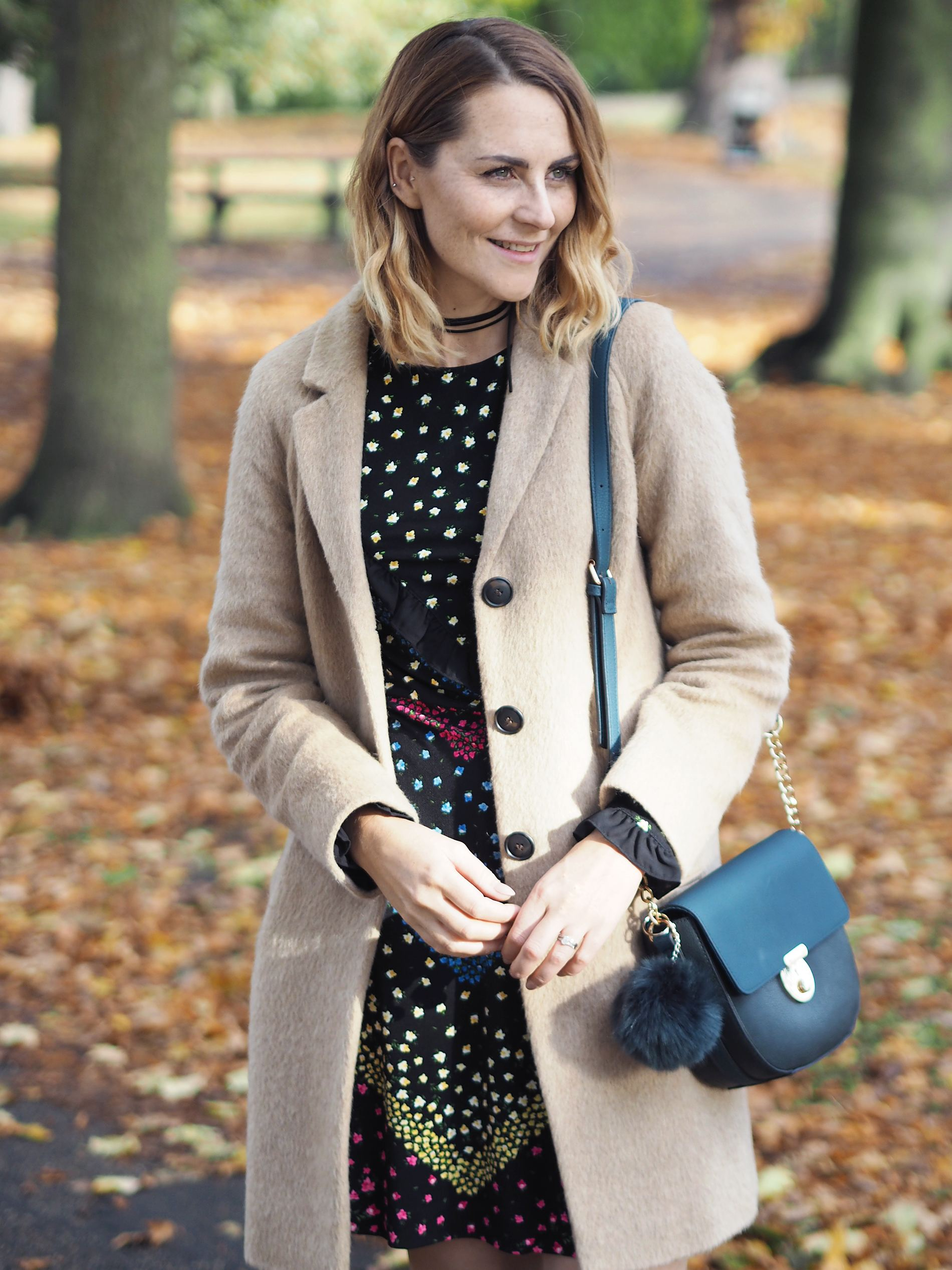 camel coat and floral dress autumn outfit
