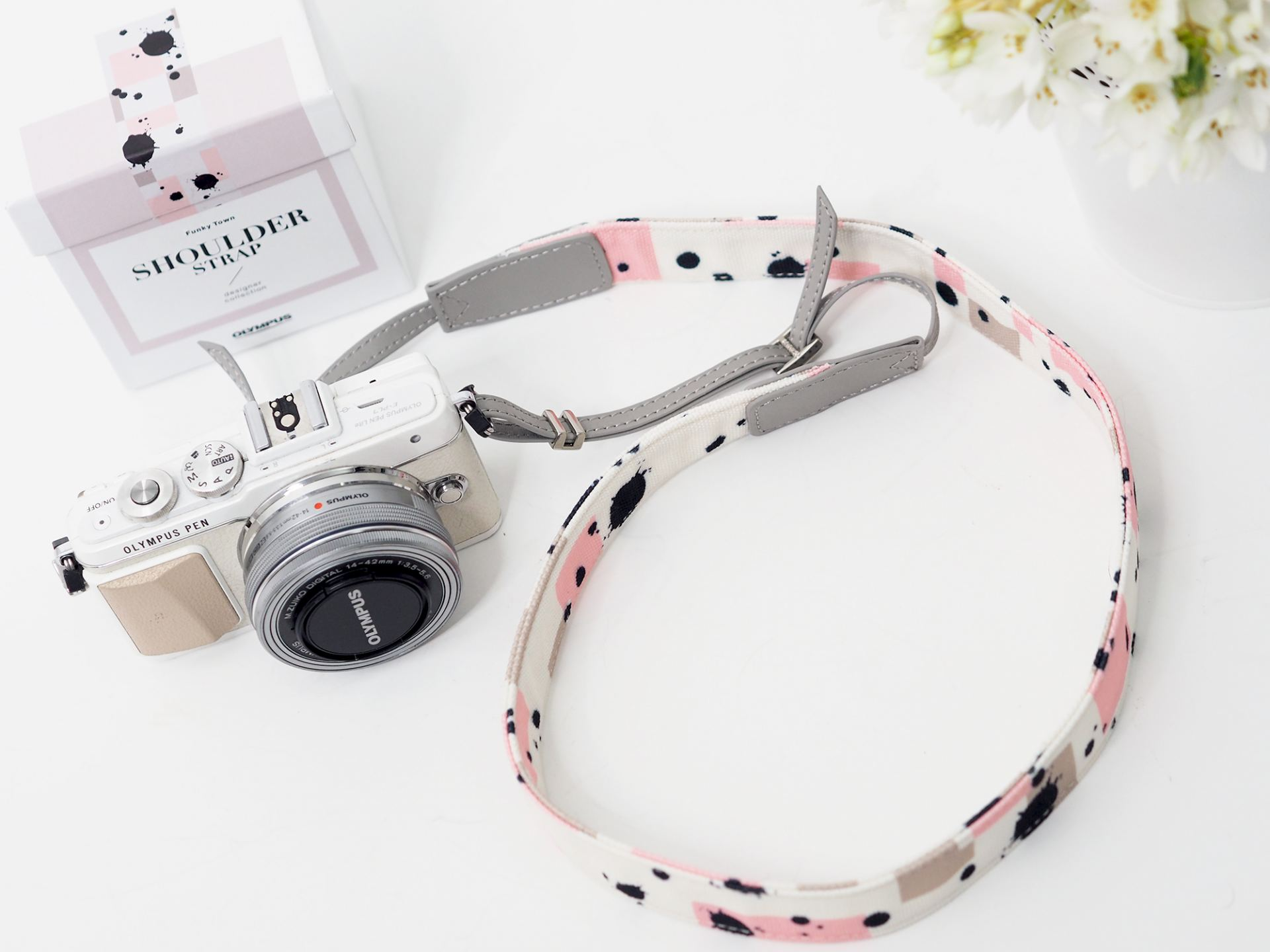olympus pen camera strap splatter