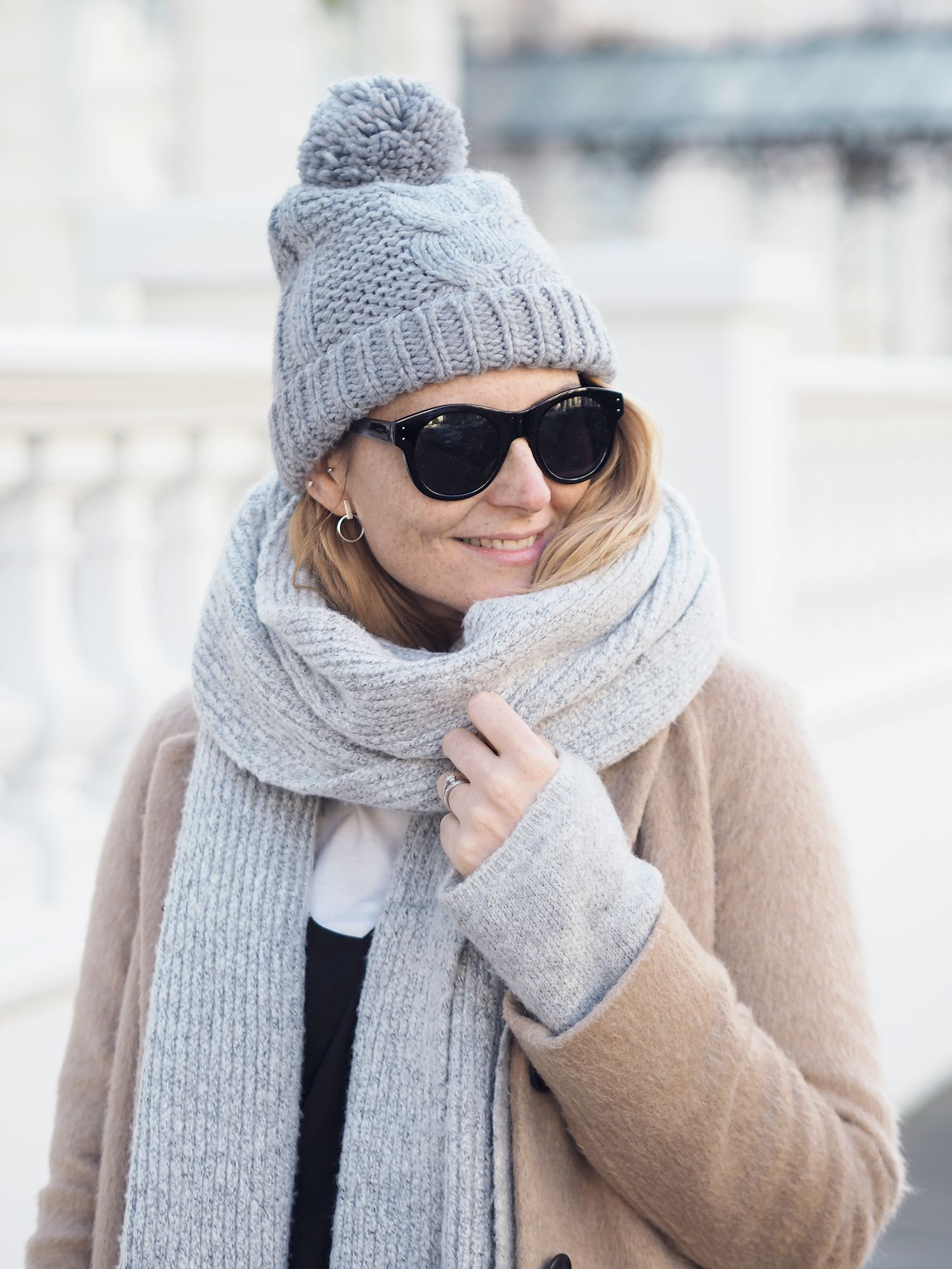 grey chunky scarf and grey bobble hat