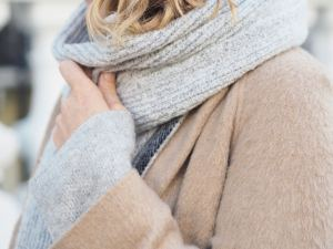 chunky grey ribbed scarf