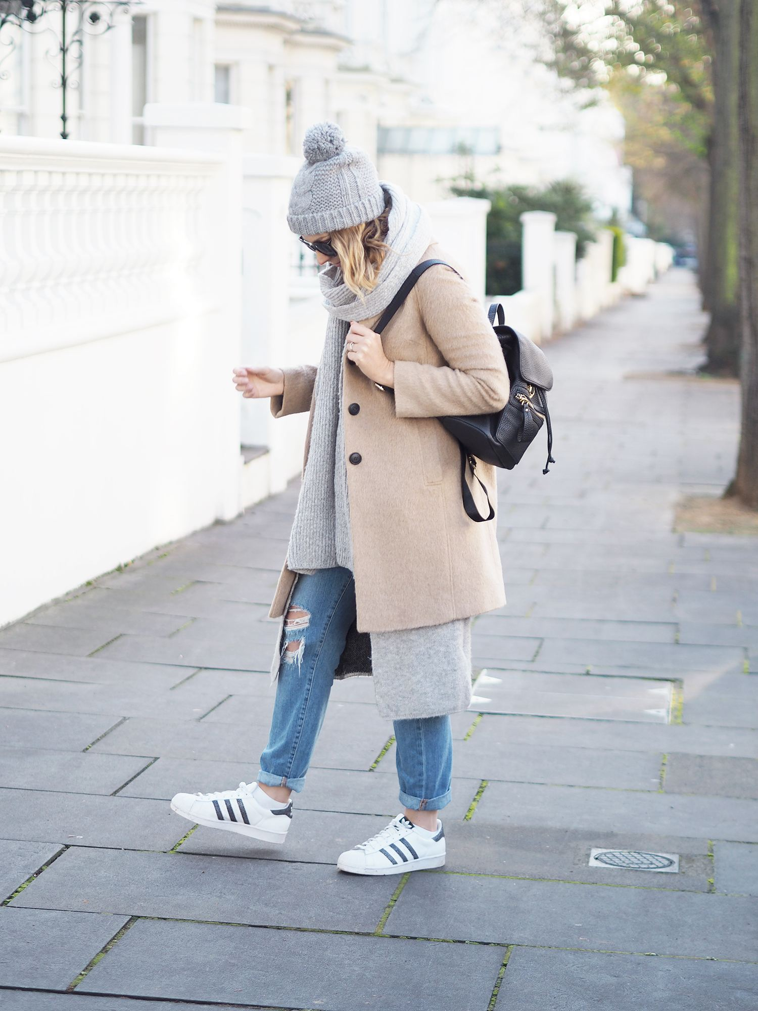 layering scarf and chunky cardi for winter