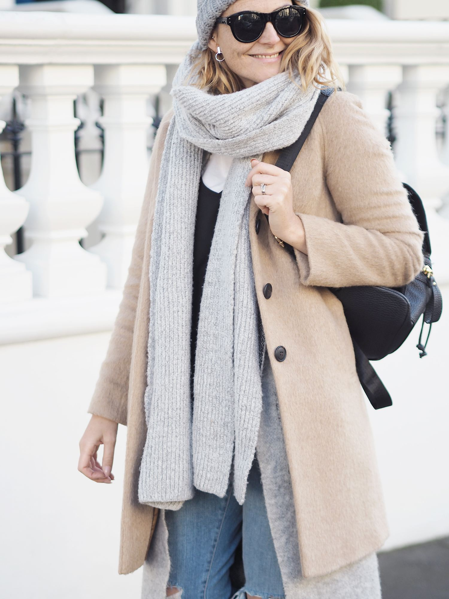 winter layering camel coat and chunky scarf