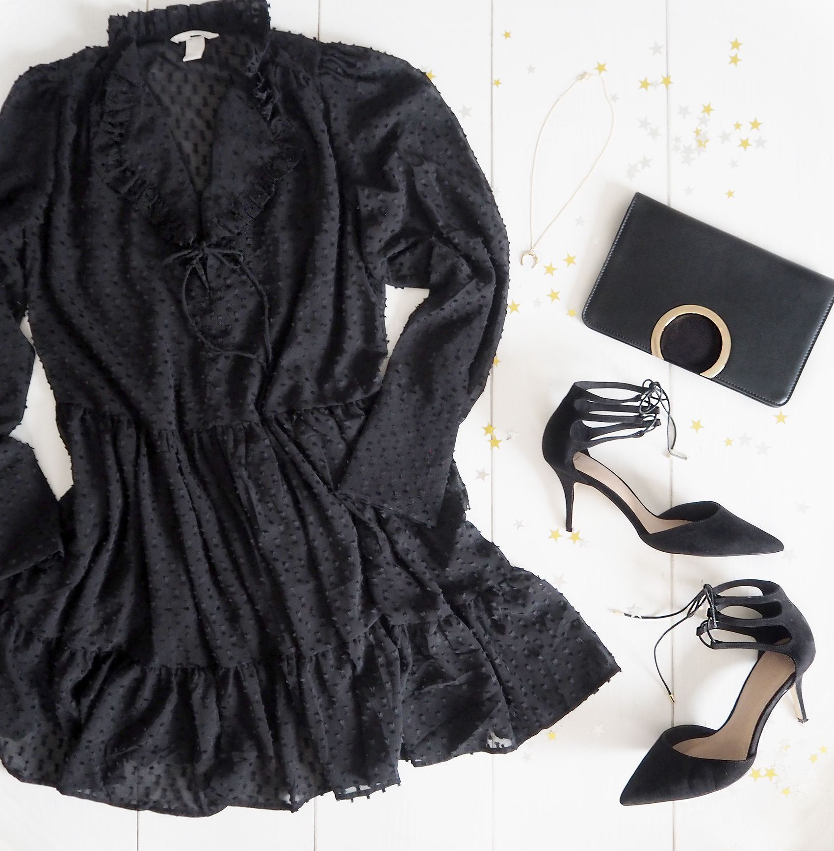 party outfit black dress and heels