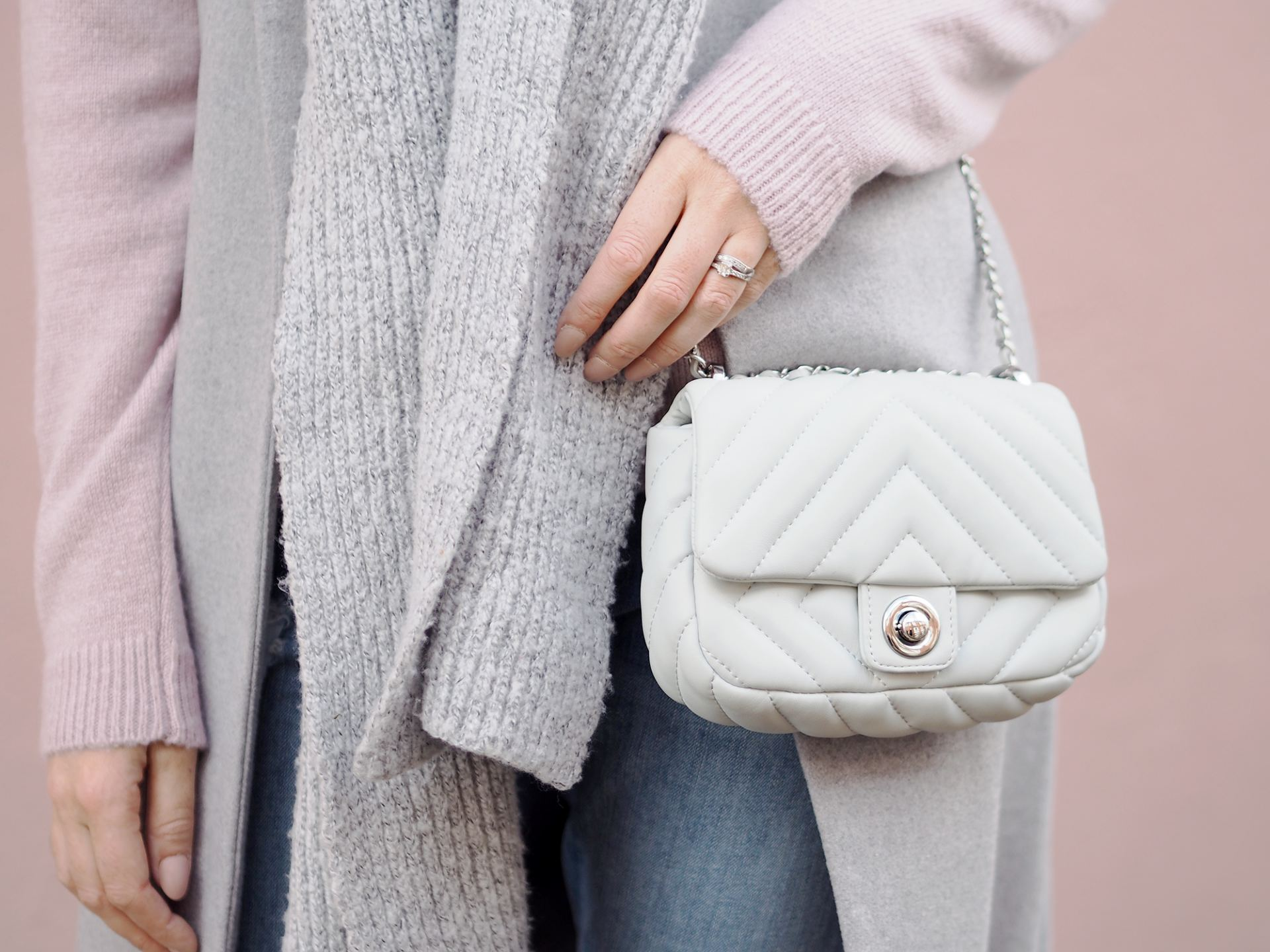 grey quilted zara bag