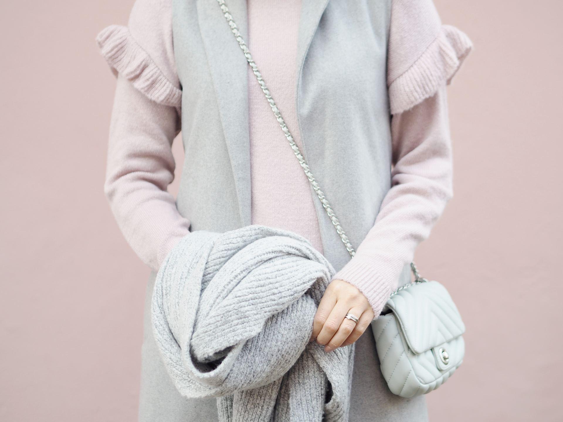 new look pink jumper and grey sleeveless jacket