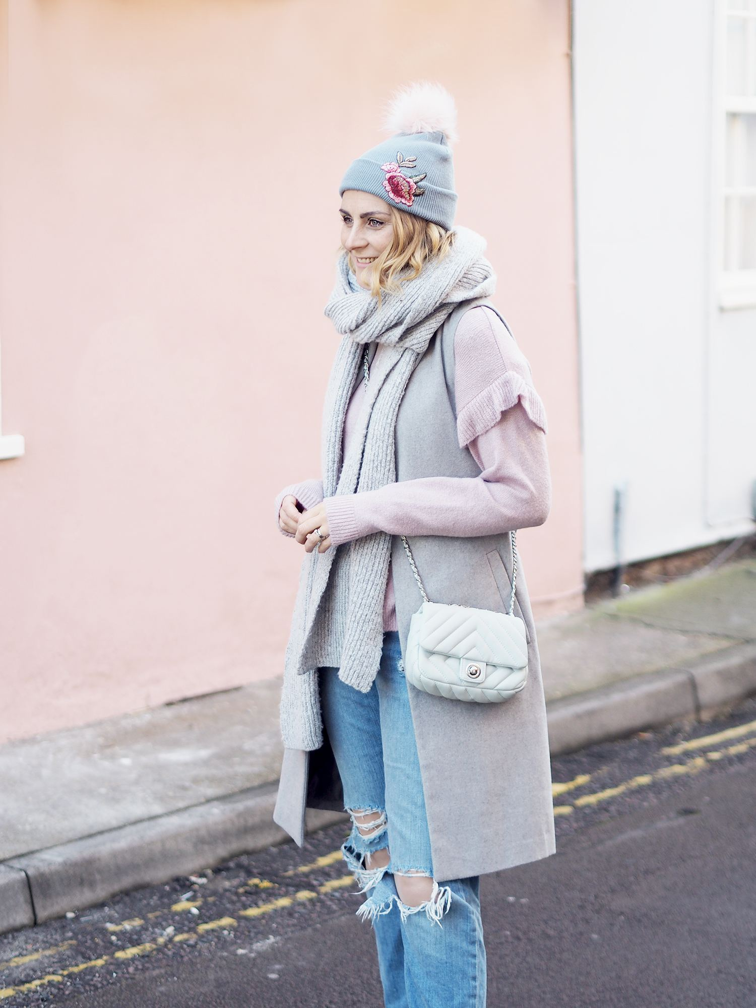 new look pink jumper and grey coat