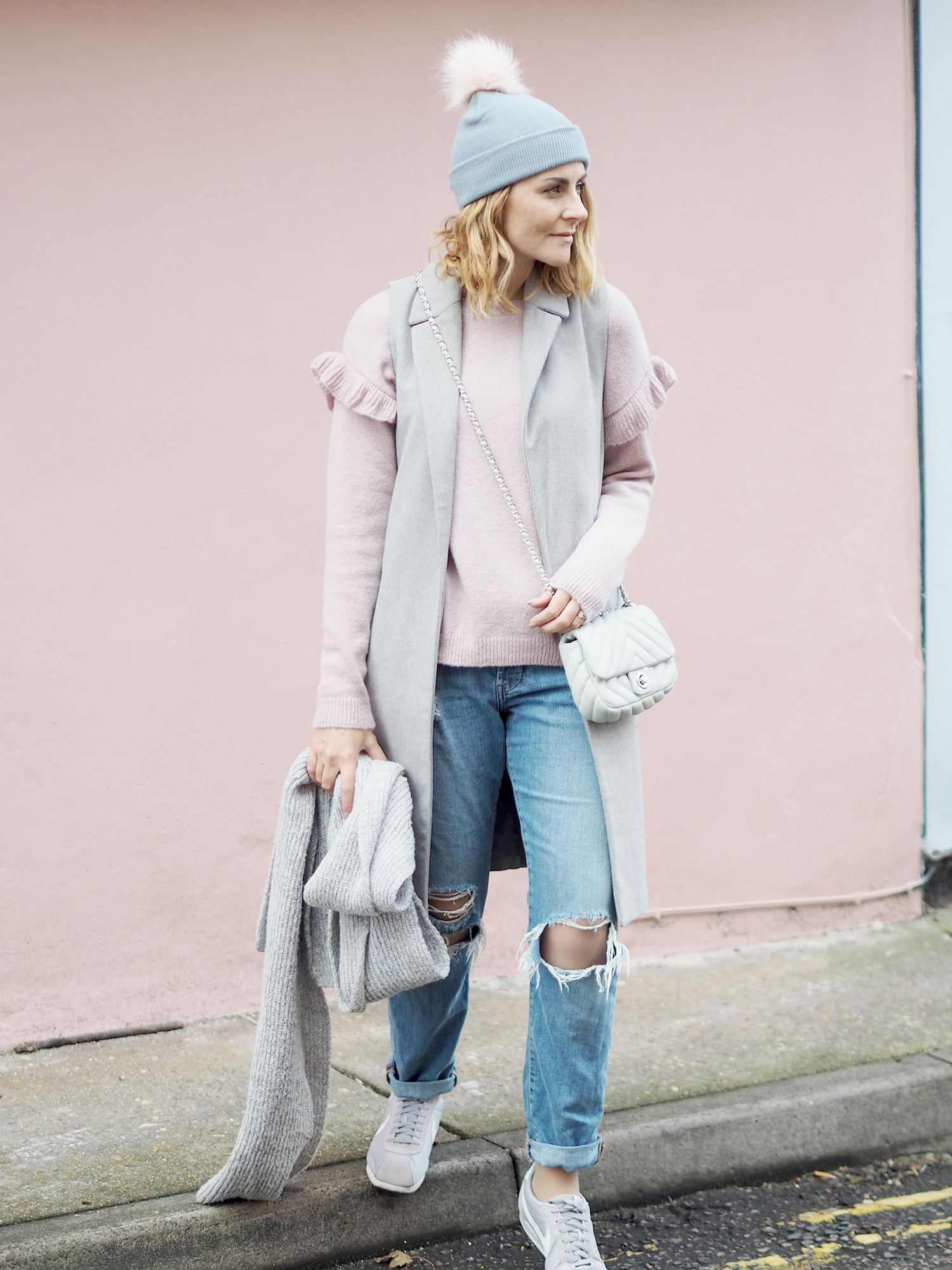 new look pink jumper and grey sleeveless jacket