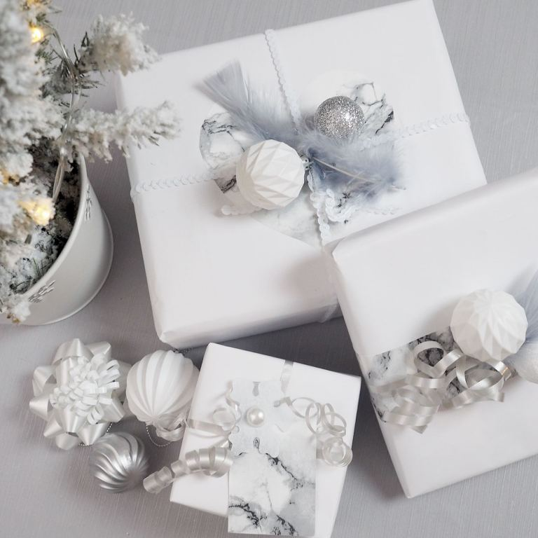 white modern presents wrapping