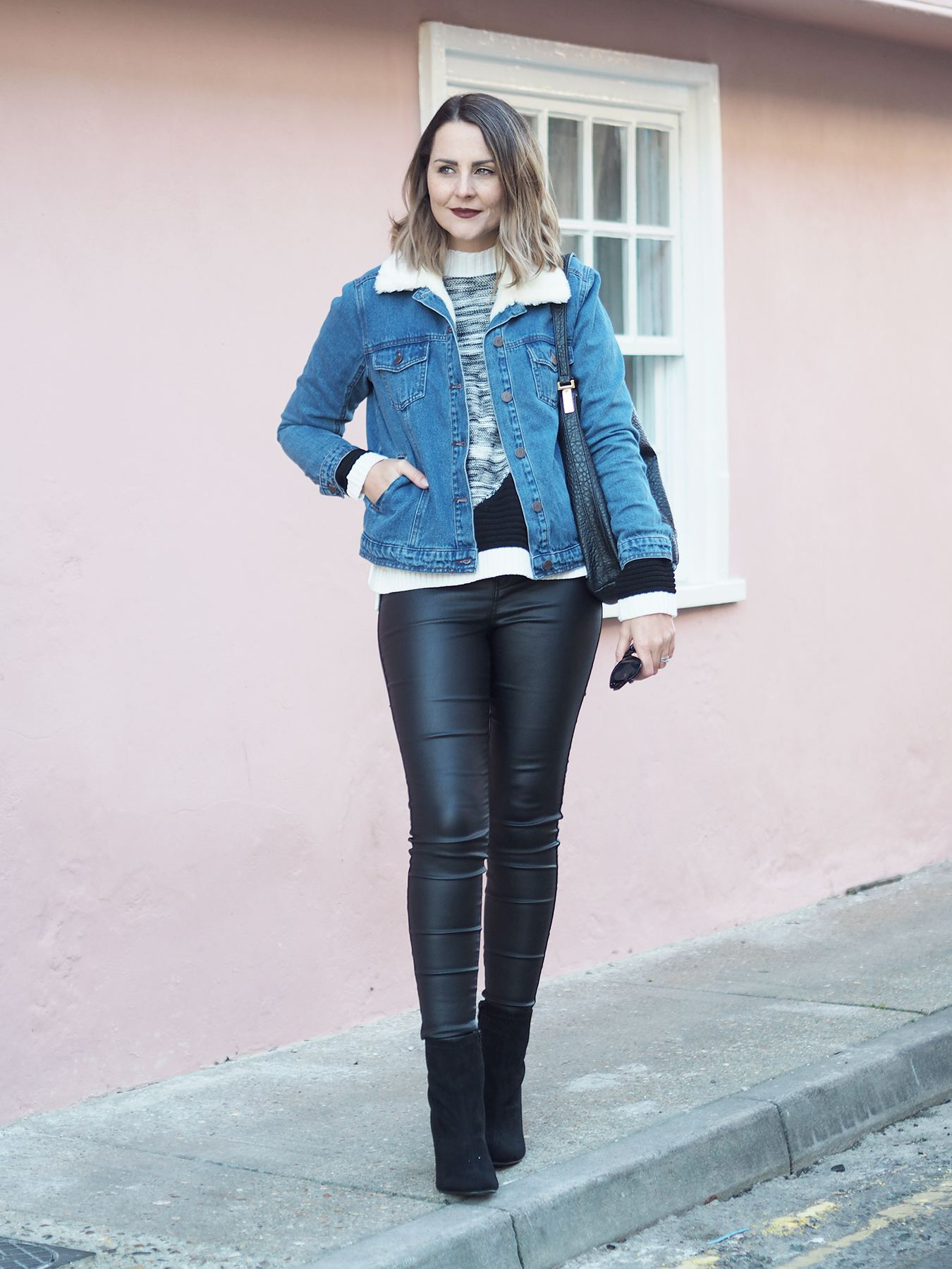 borg collar denim jacket outfit winter