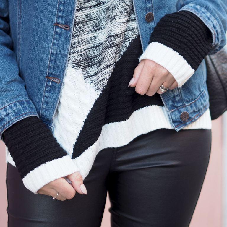 black and white jumper and denim jacket