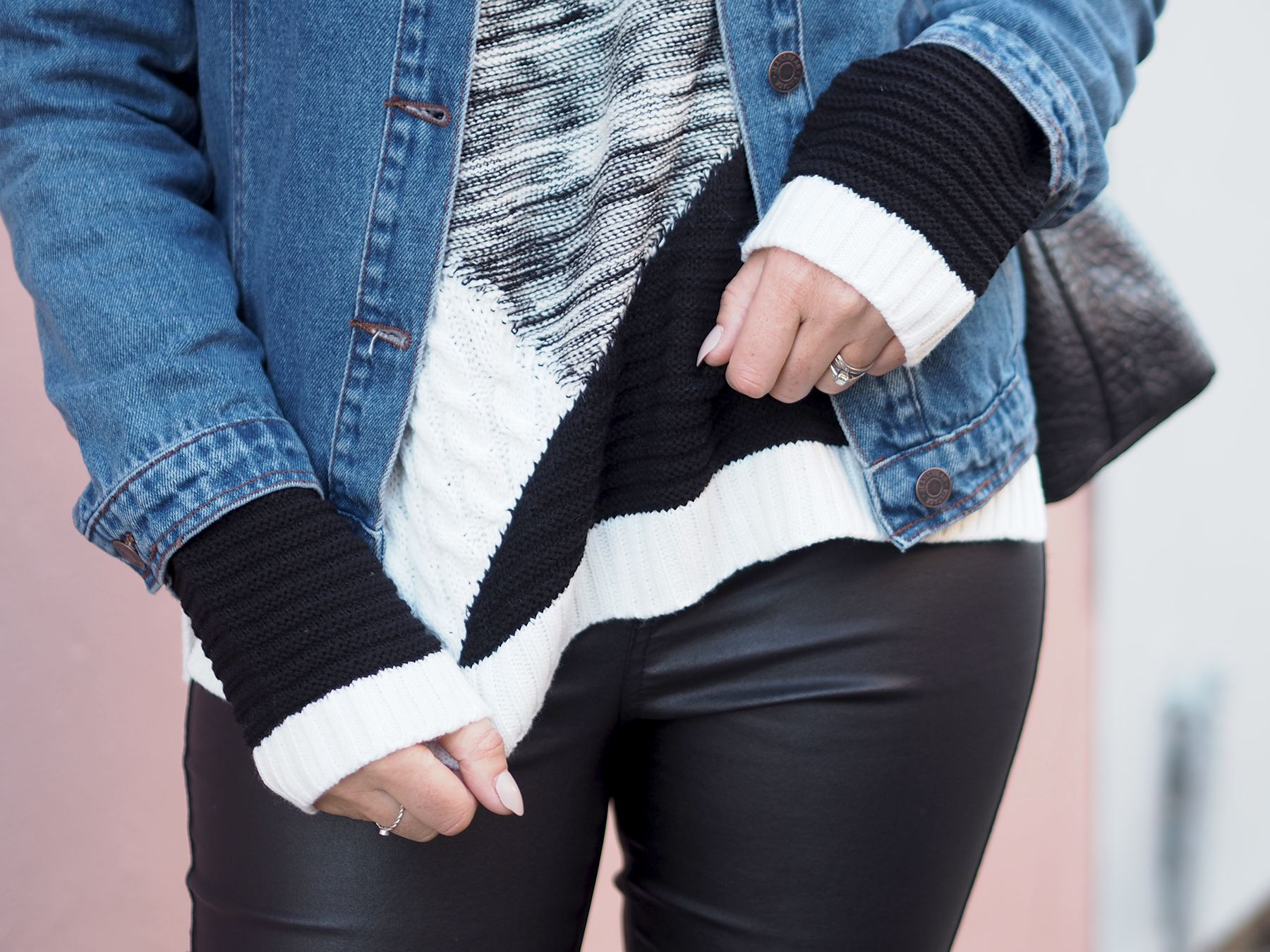 black and white jumper and denim jacket