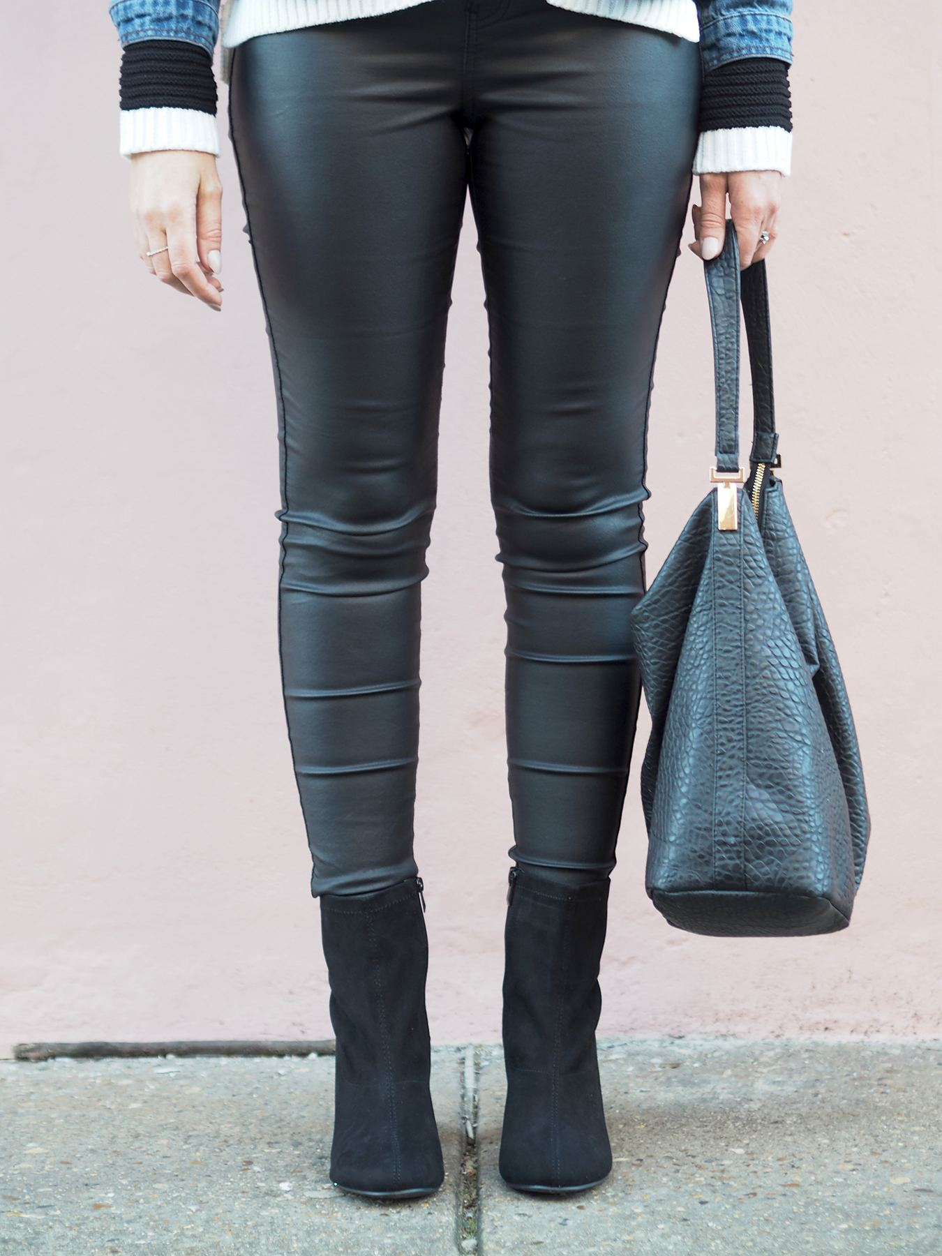 leather look jeans and boots