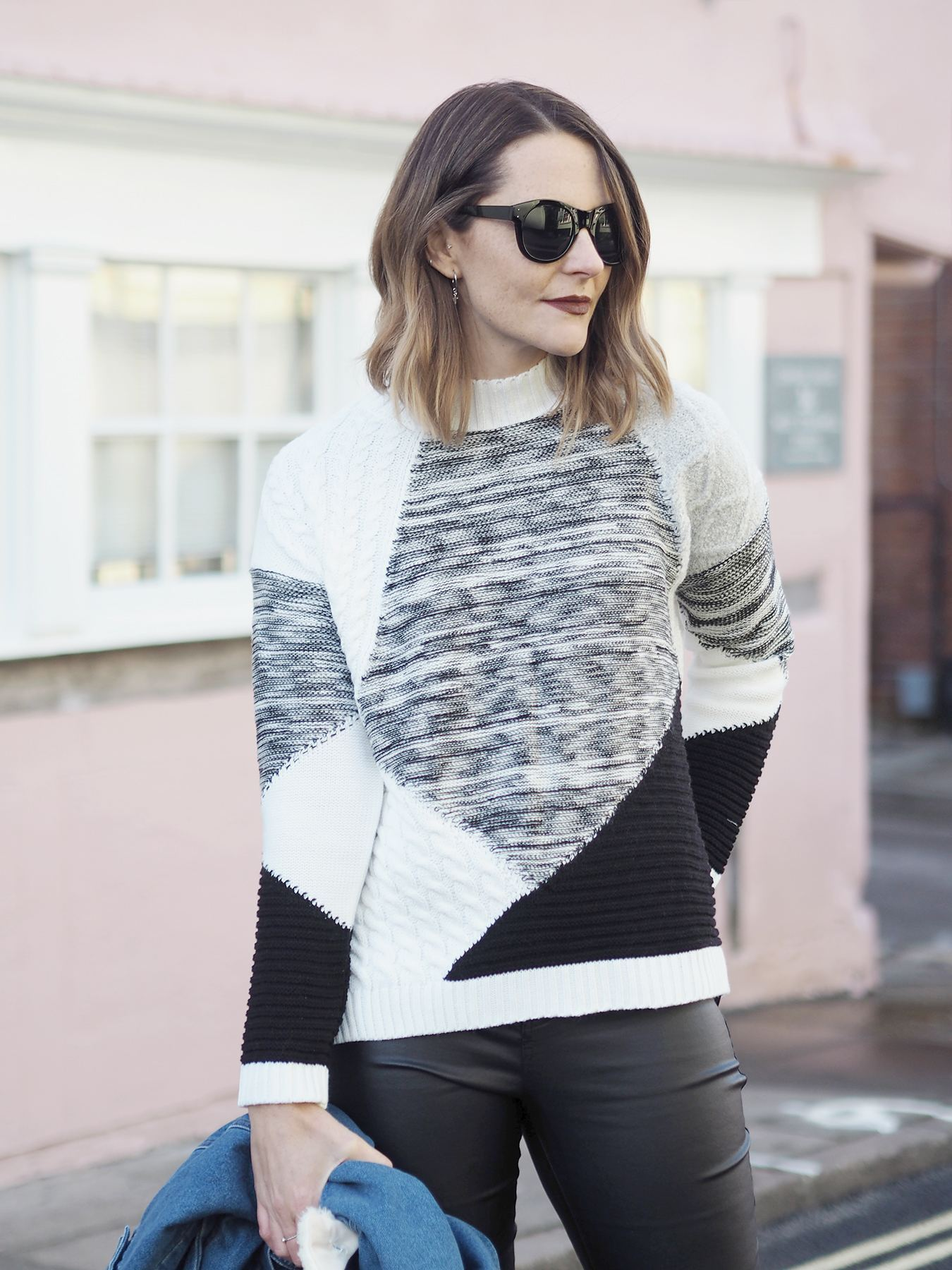 chunky black and white jumper