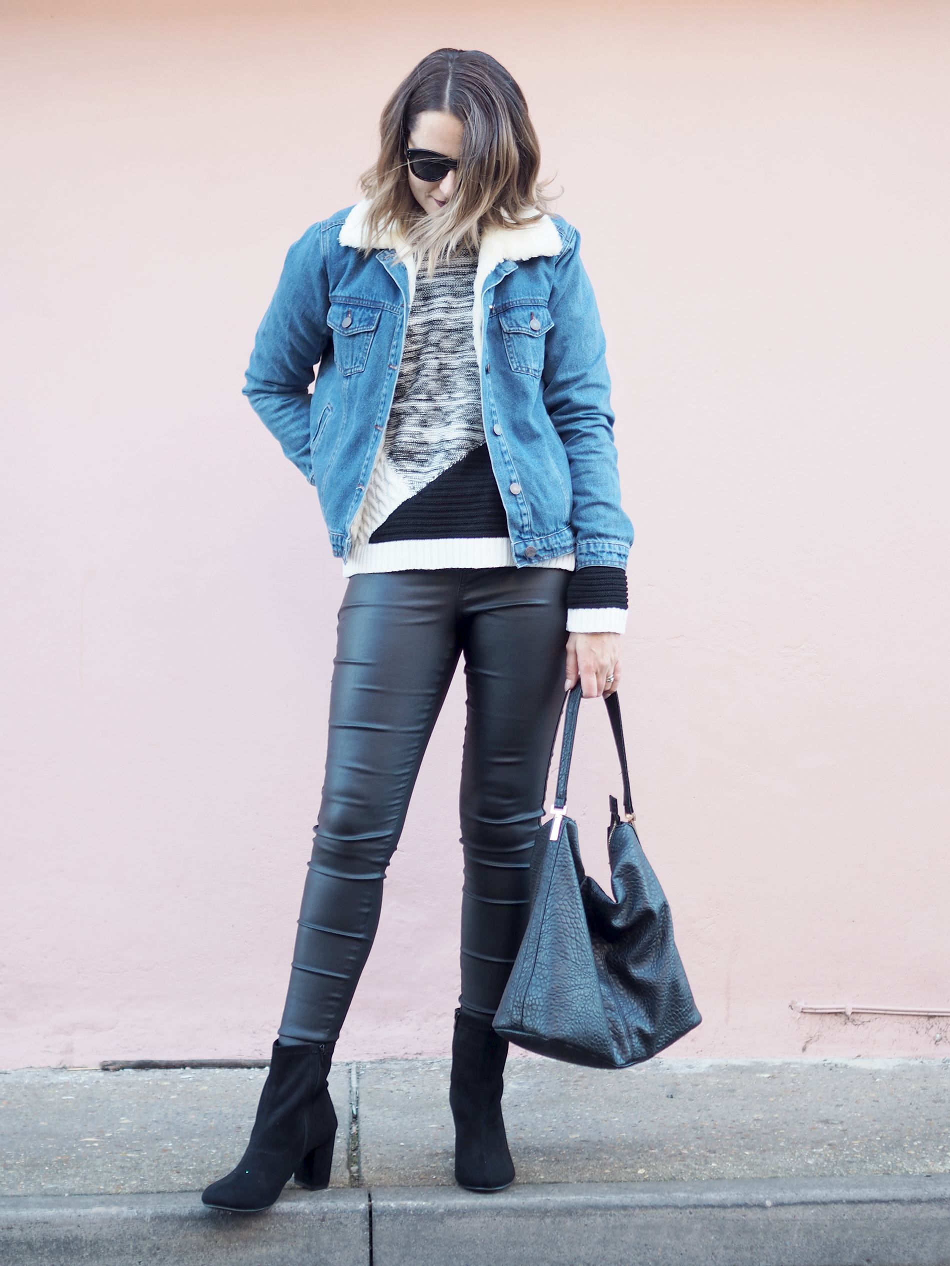 borg collar denim jacket outfit with chunky jumper