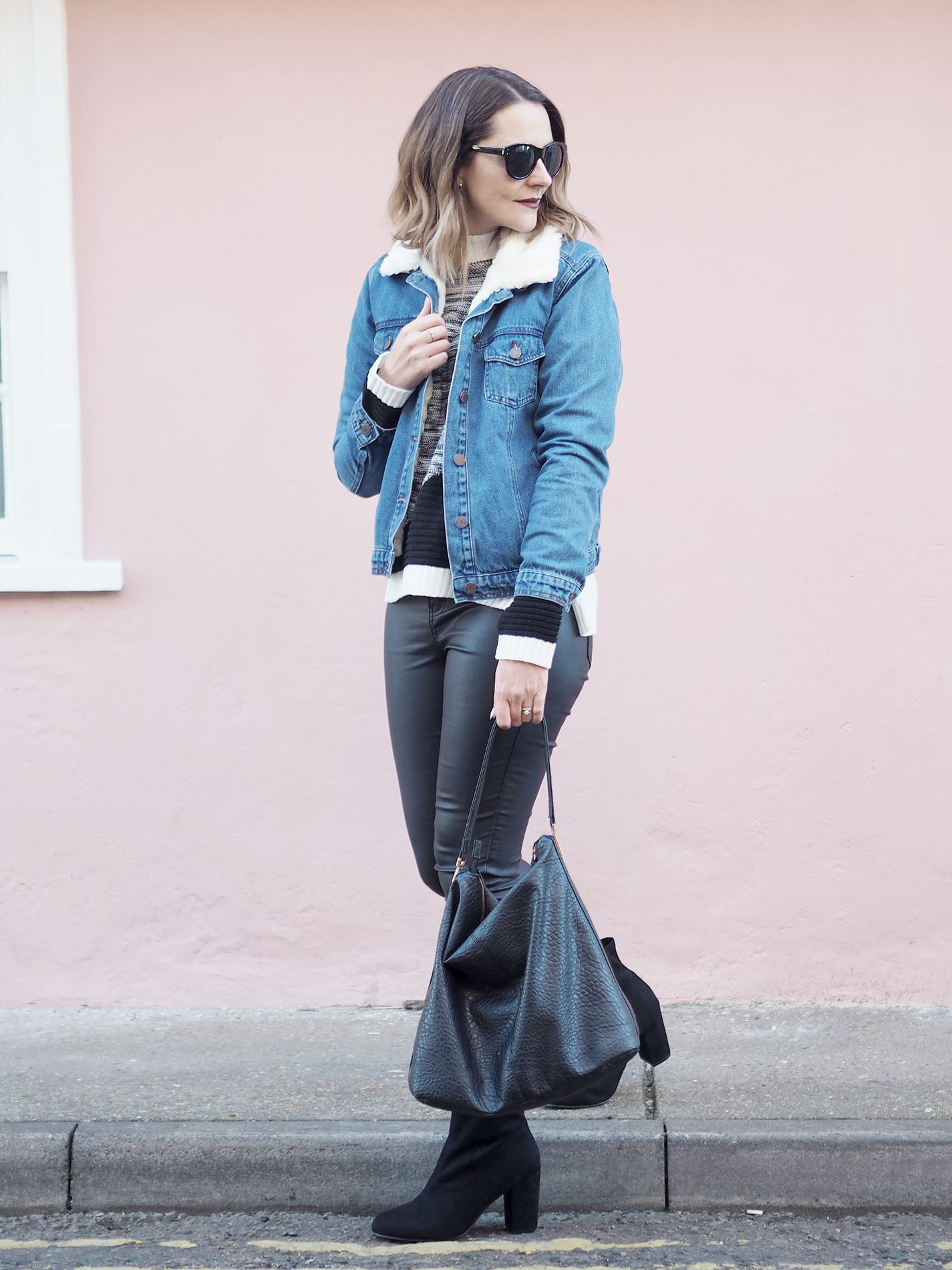 denim jacket and leather jeans outfit