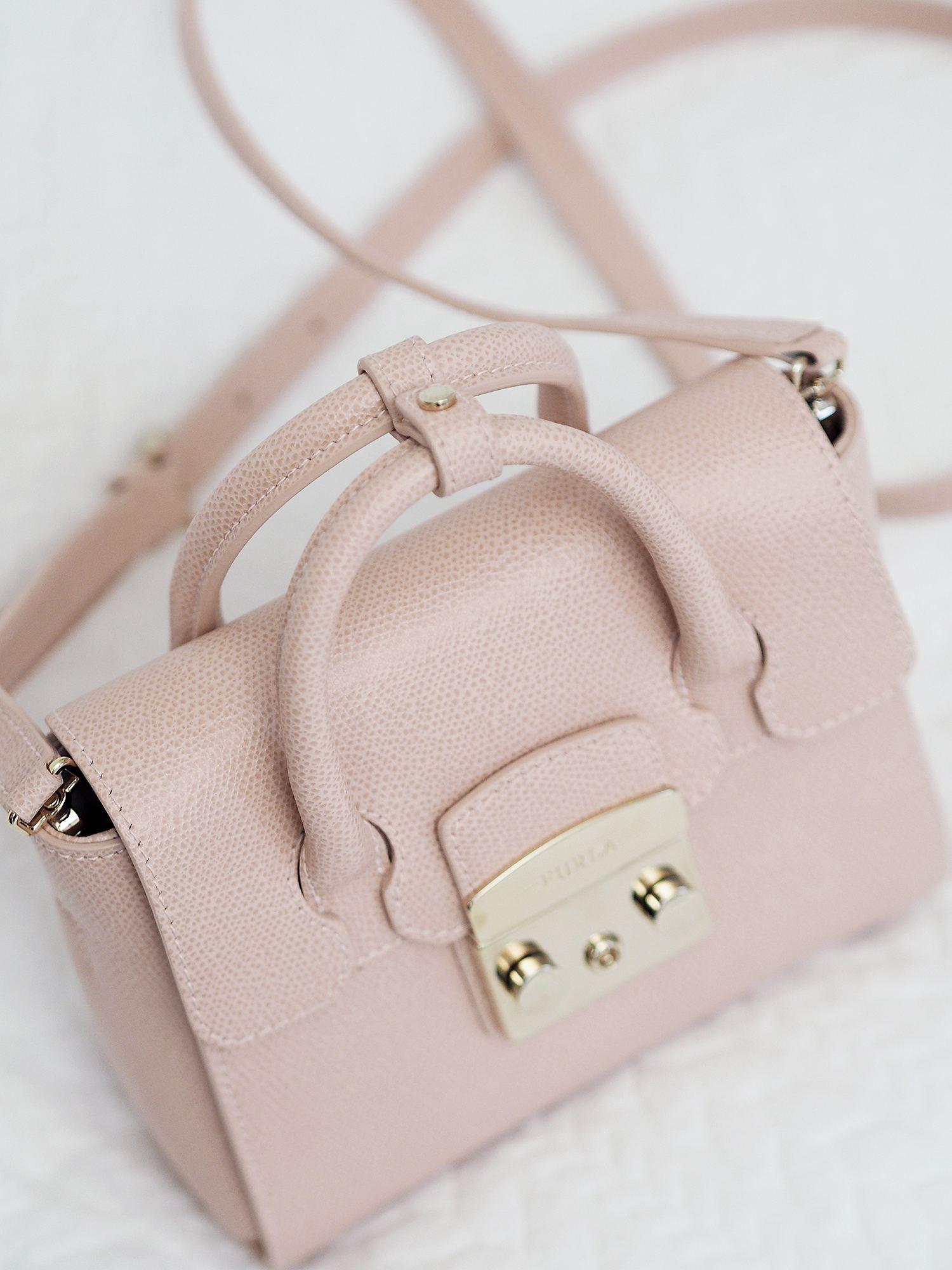 furla metropolitan tote bang in pale pink