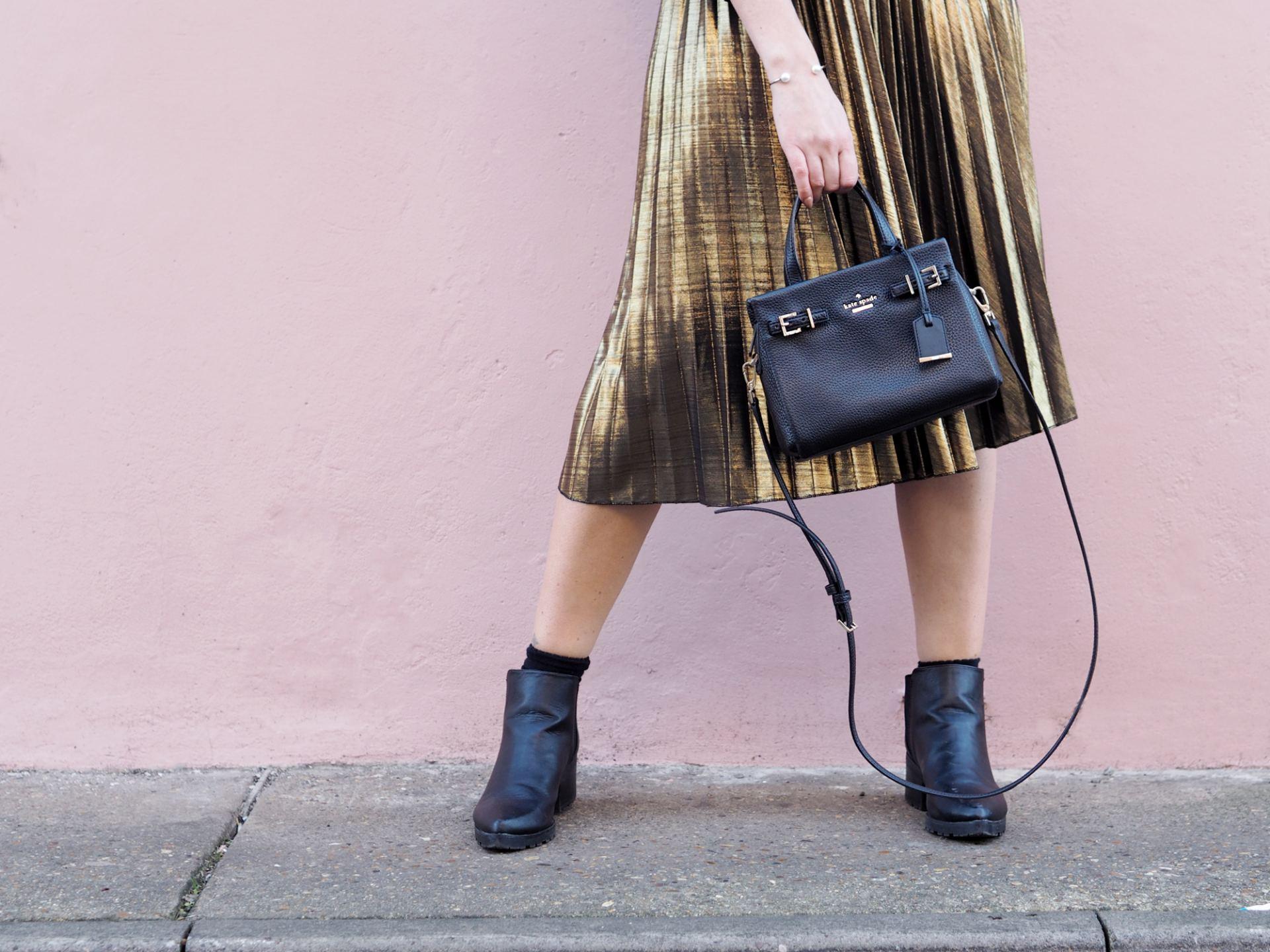 metallic midi skirt with kate spade handbag