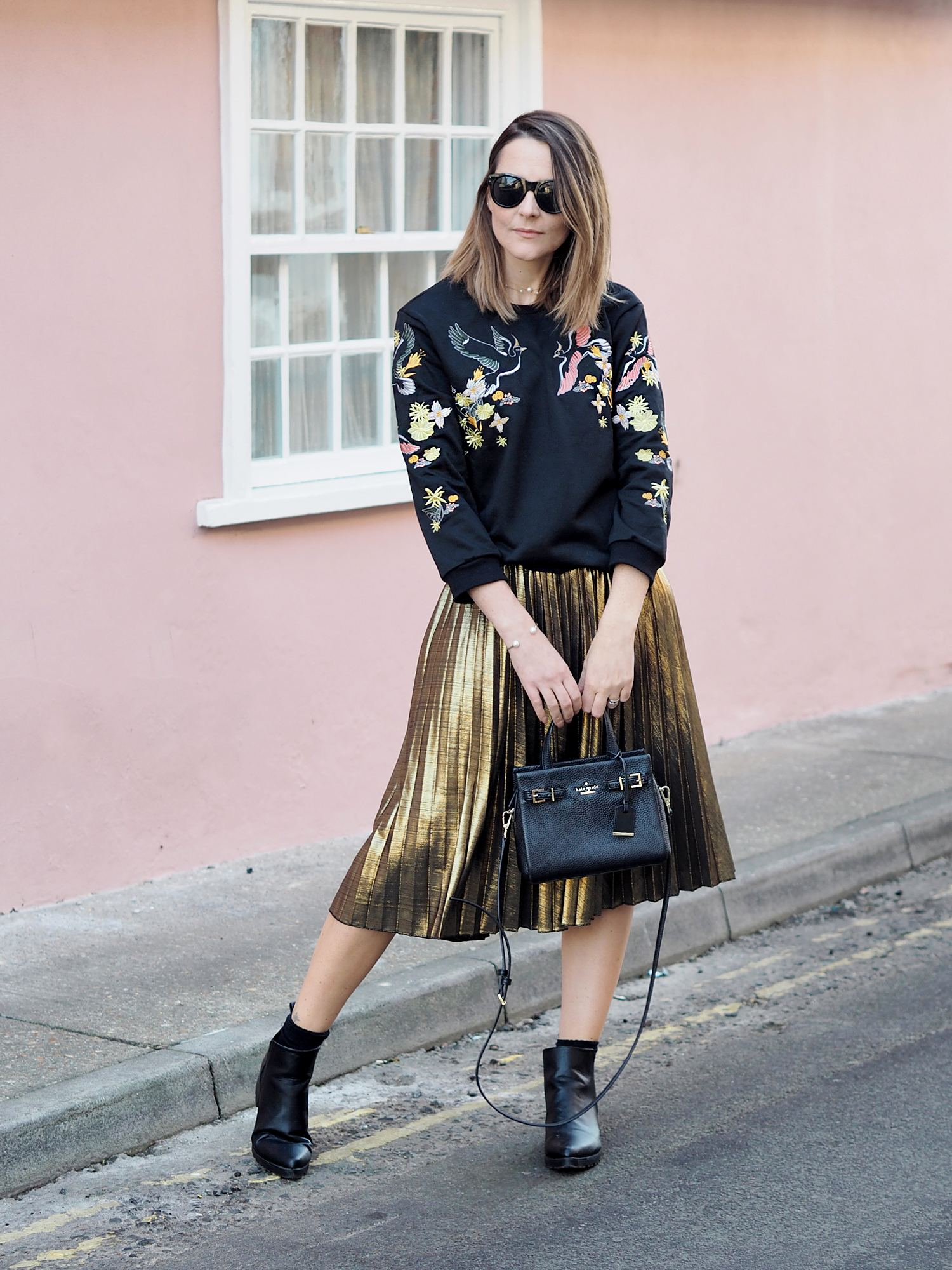 metallic midi skirt with embroidered jumper outfit